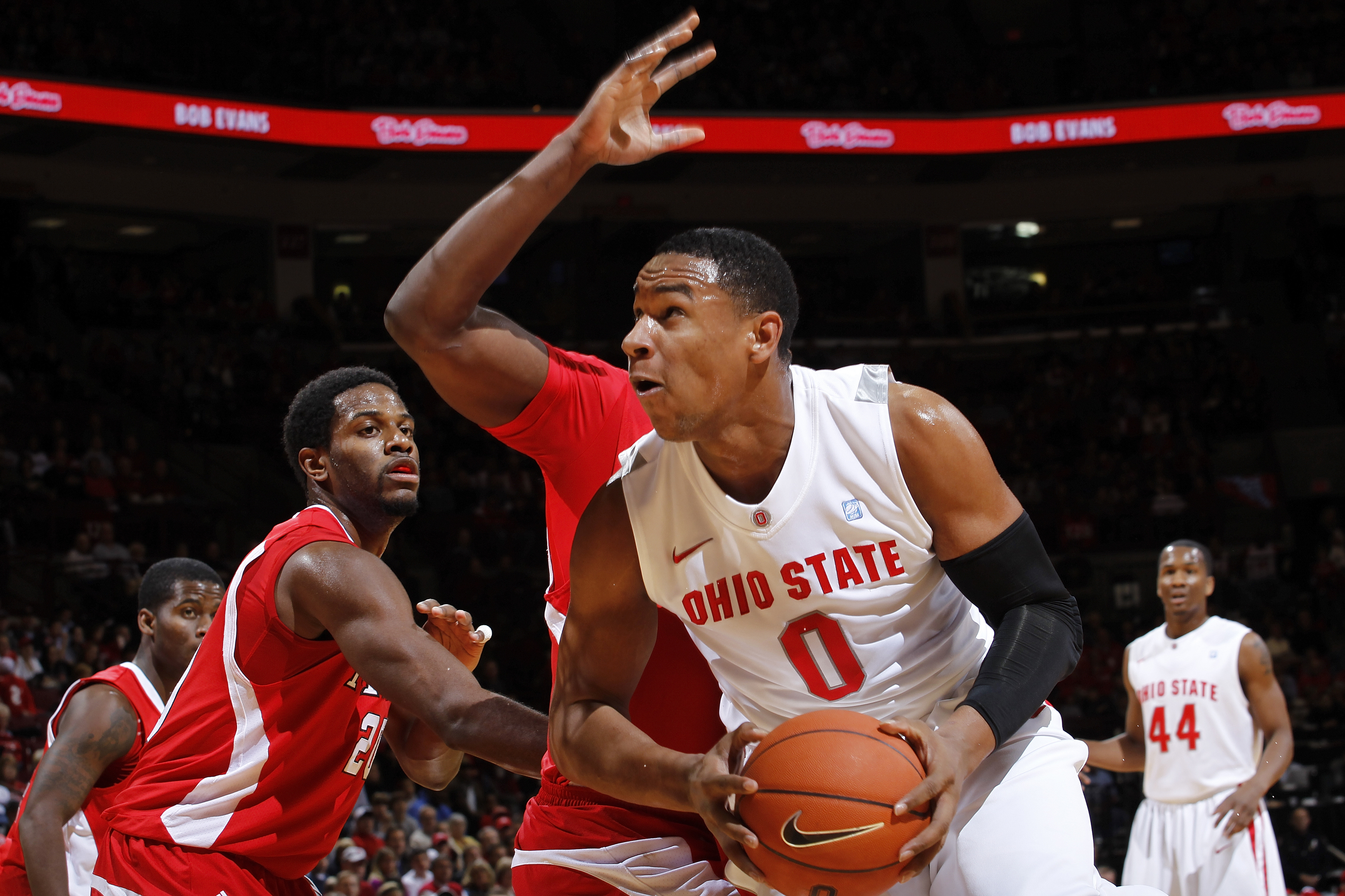 COLUMBUS, OH - NOVEMBER 26: Jared Sullinger #0 of the Ohio State Buckeyes looks to the basket against the Miami RedHawks at Value City Arena on November 26, 2010 in Columbus, Ohio. Ohio State won 66-45. (Photo by Joe Robbins/Getty Images)