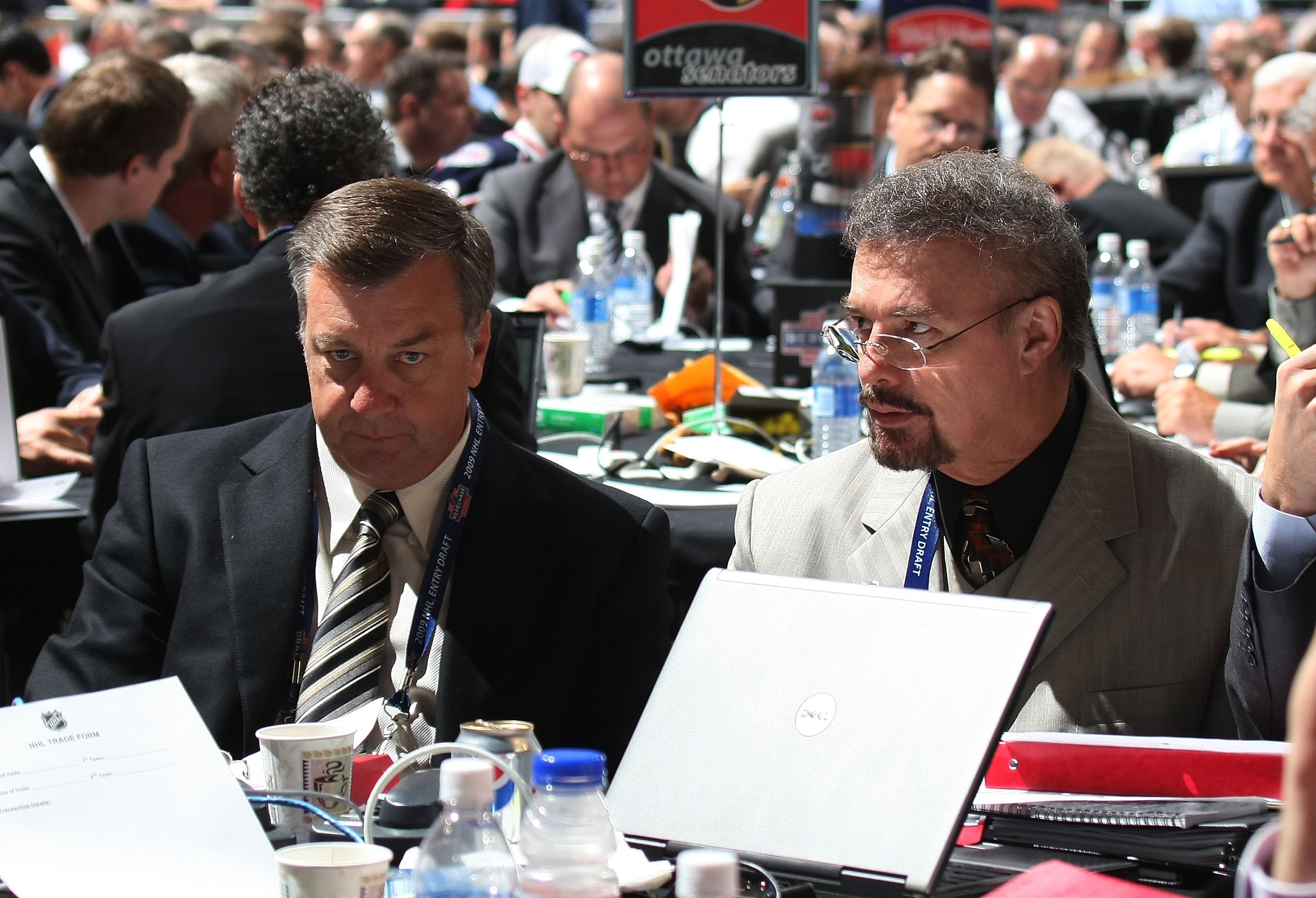 MONTREAL, QC - JUNE 27: Don Waddell and Rick Dudley of the Atlanta Thrashers photographed during the 2009 NHL Entry Draft at the Bell Centre on June 27, 2009 in Montreal, Quebec, Canada.  (Photo by Bruce Bennett/Getty Images)
