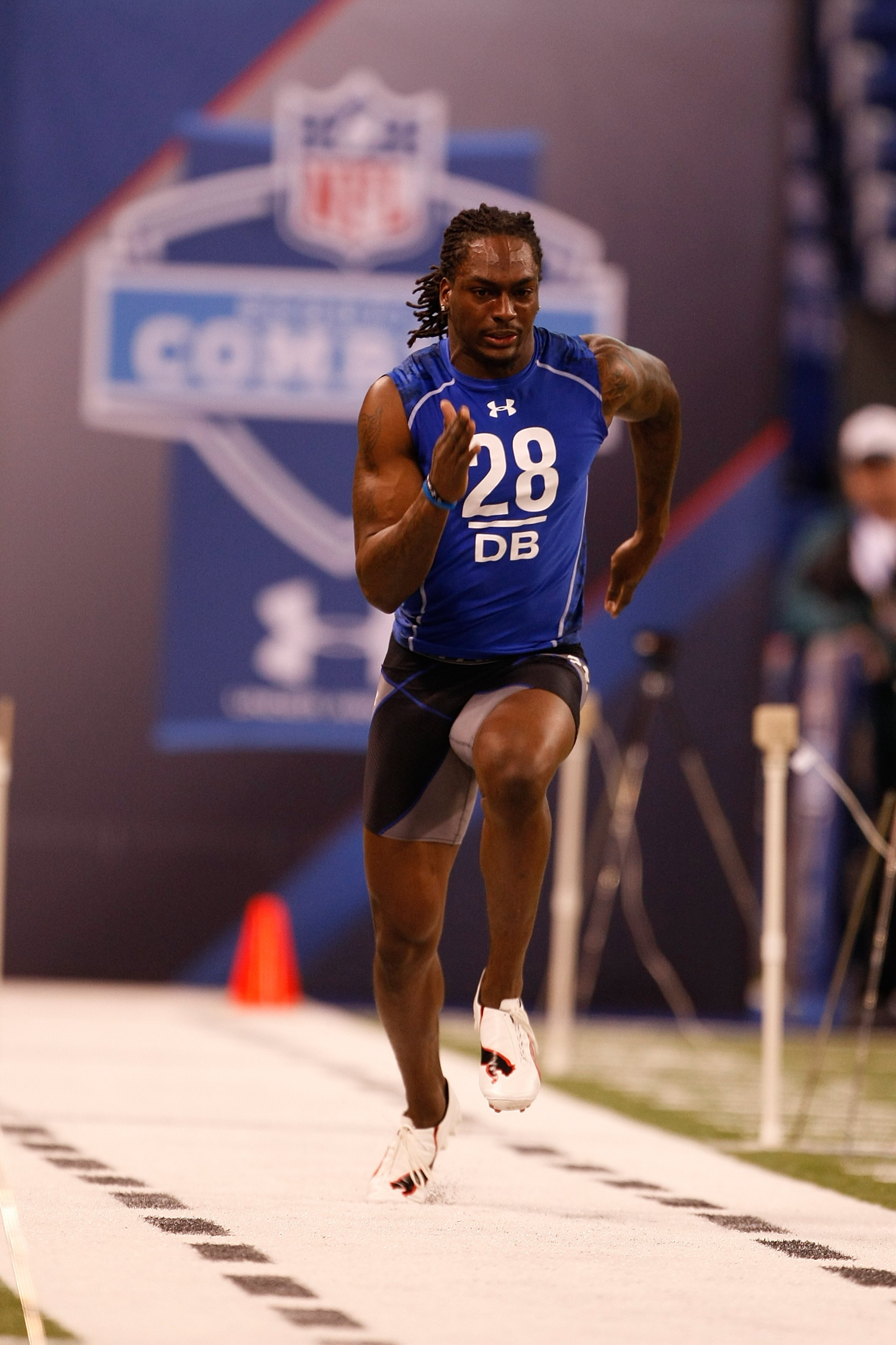 INDIANAPOLIS, IN - MARCH 2: Defensive back Myron Lewis of Vanderbilt runs the 40 yard dash during the NFL Scouting Combine presented by Under Armour at Lucas Oil Stadium on March 2, 2010 in Indianapolis, Indiana. (Photo by Scott Boehm/Getty Images)