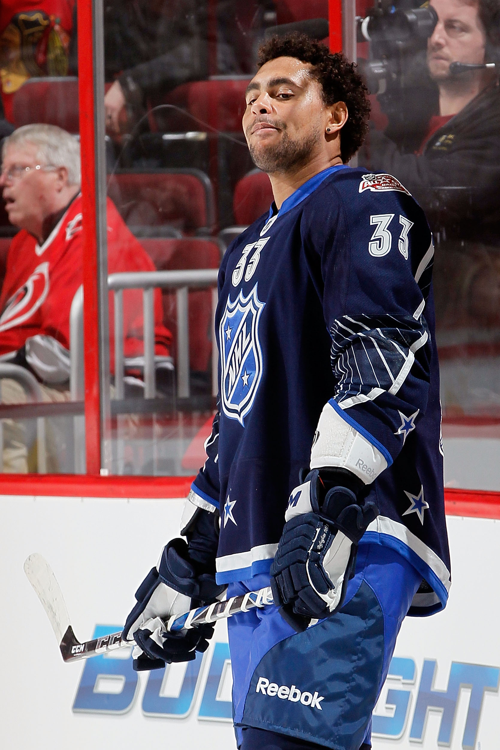 RALEIGH, NC - JANUARY 30:  Dustin Byfuglien #33 of the Atlanta Thrashers looks on during warm ups before the 58th NHL All-Star Game at RBC Center on January 30, 2011 in Raleigh, North Carolina.  (Photo by Kevin C. Cox/Getty Images)