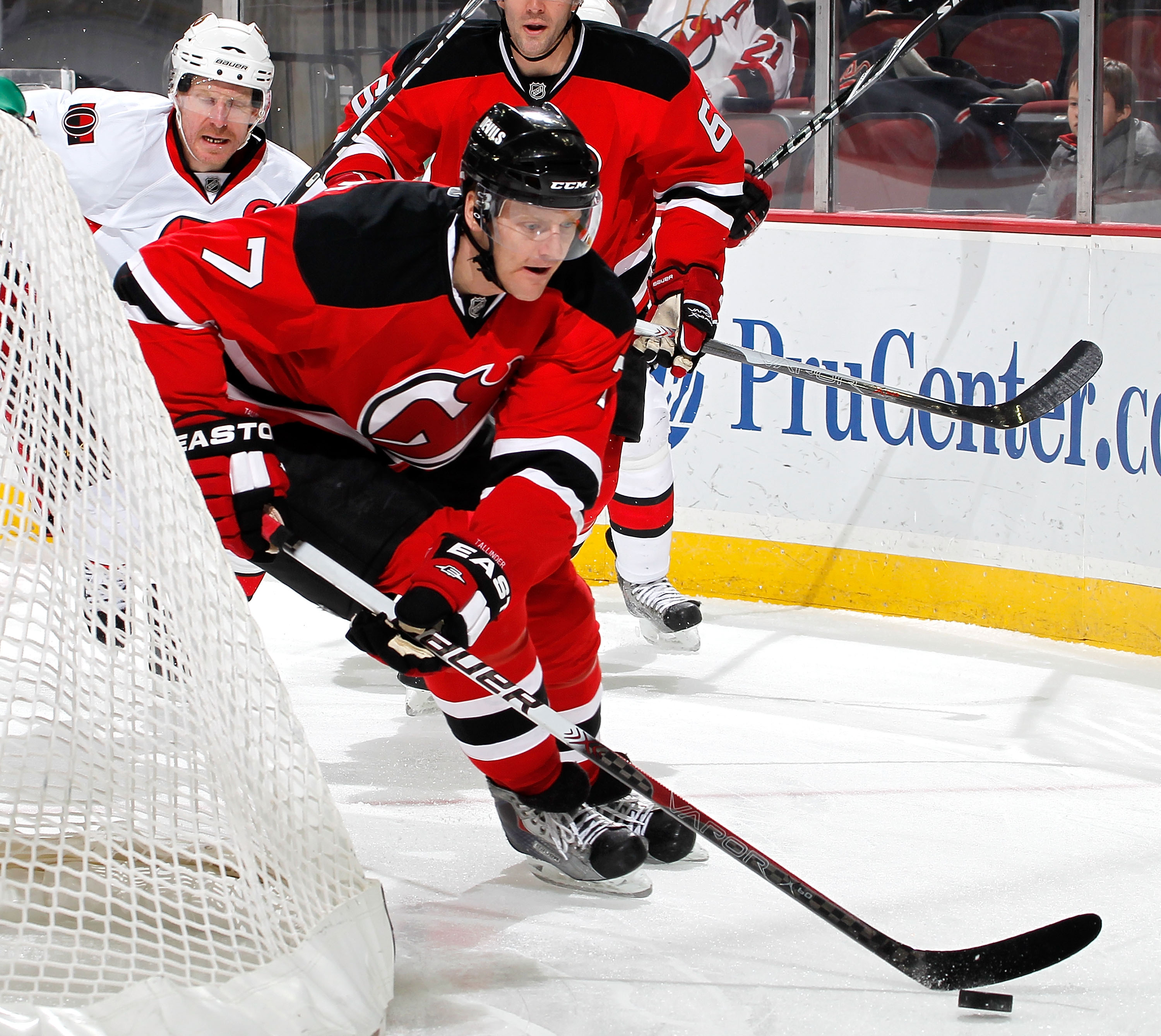 NEWARK, NJ - FEBRUARY 01:  Henrik Tallinder #7 of the New Jersey Devils skates during an NHL hockey game against the Ottawa Senators at the Prudential Center on February 1, 2011 in Newark, New Jersey.  (Photo by Paul Bereswill/Getty Images)
