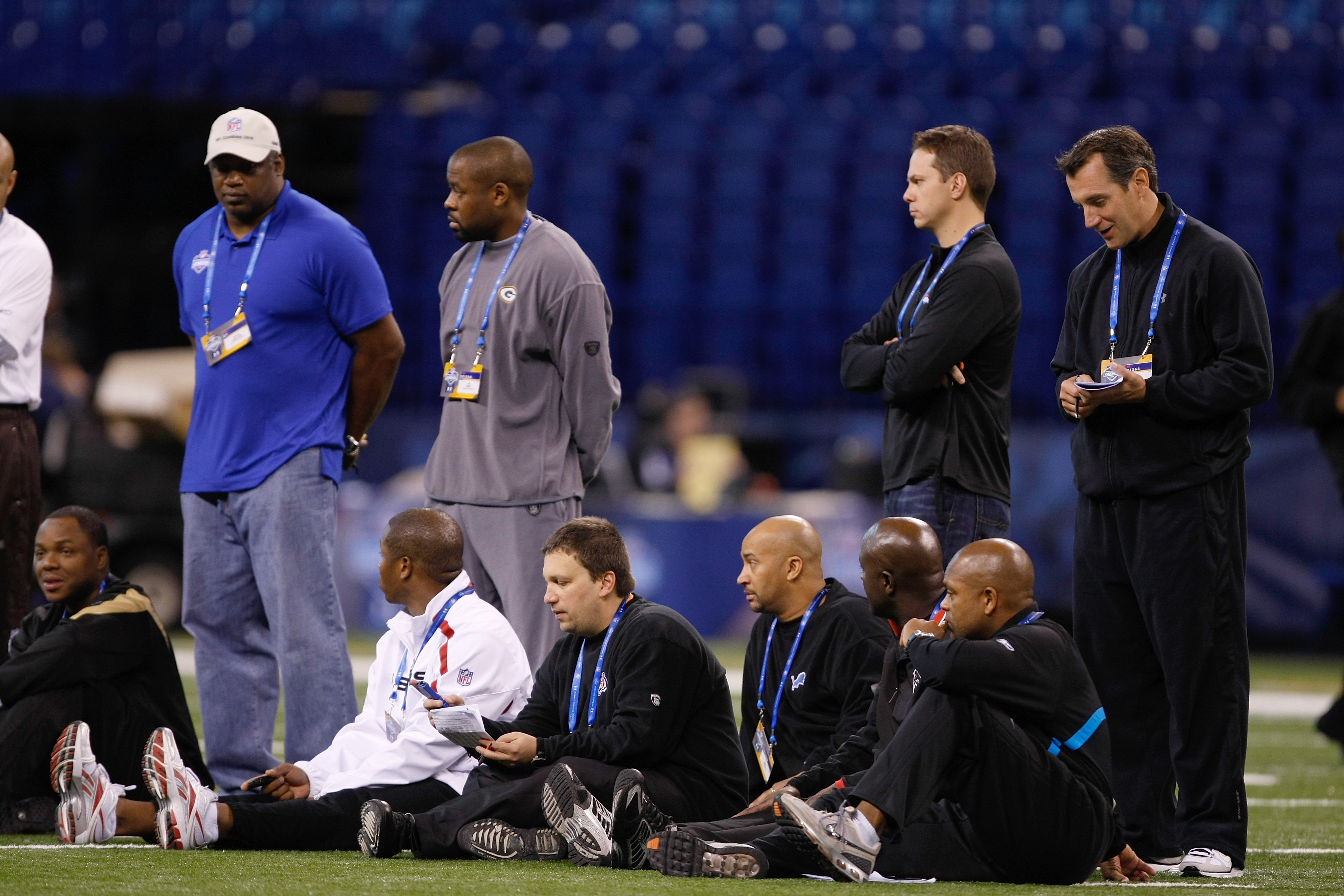 INDIANAPOLIS, IN - MARCH 2: Coaches evaluate players during the NFL Scouting Combine presented by Under Armour at Lucas Oil Stadium on March 2, 2010 in Indianapolis, Indiana. (Photo by Scott Boehm/Getty Images)