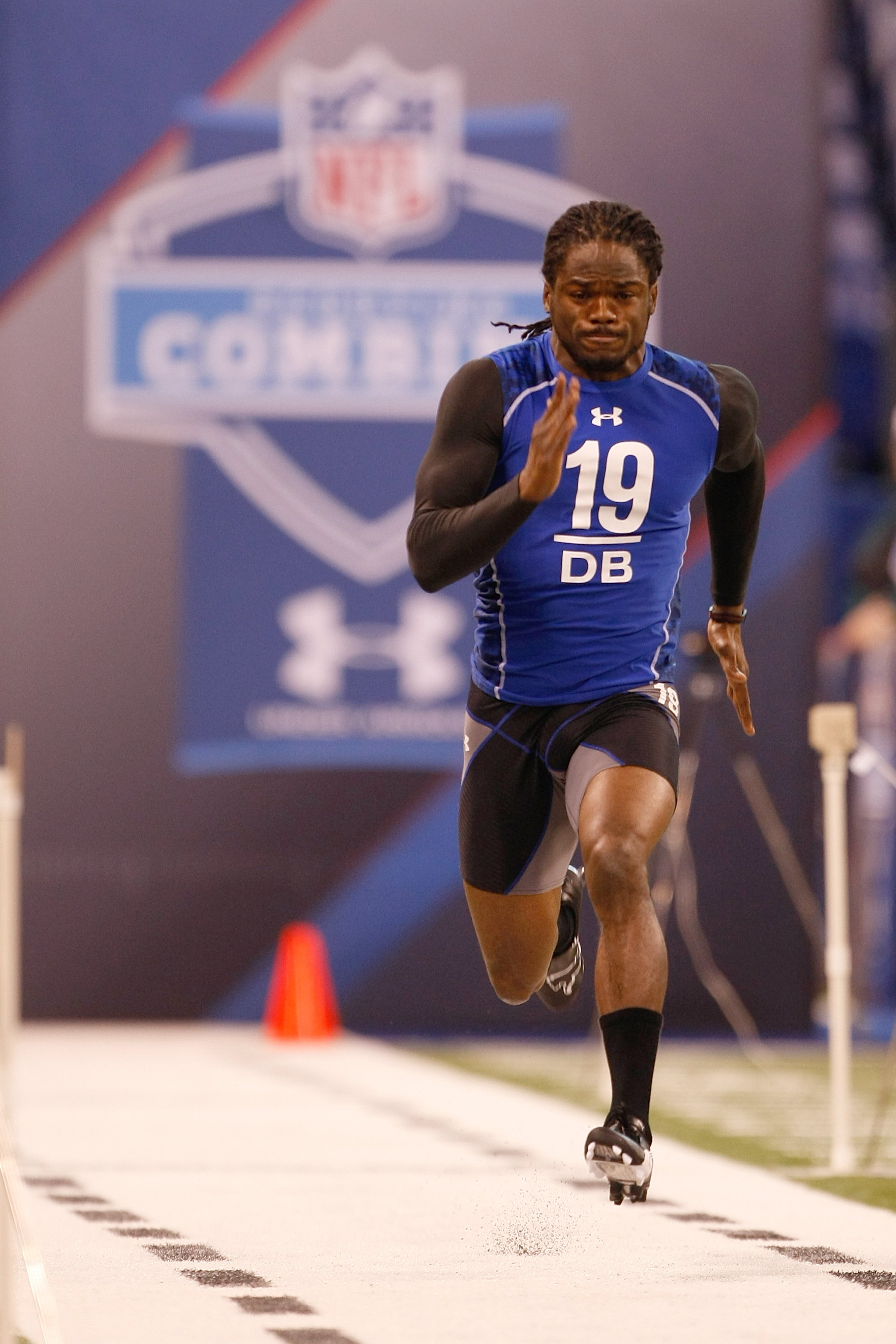 INDIANAPOLIS, IN - MARCH 2: Defensive back Marshay Green of Mississippi runs the 40 yard dash during the NFL Scouting Combine presented by Under Armour at Lucas Oil Stadium on March 2, 2010 in Indianapolis, Indiana. (Photo by Scott Boehm/Getty Images)
