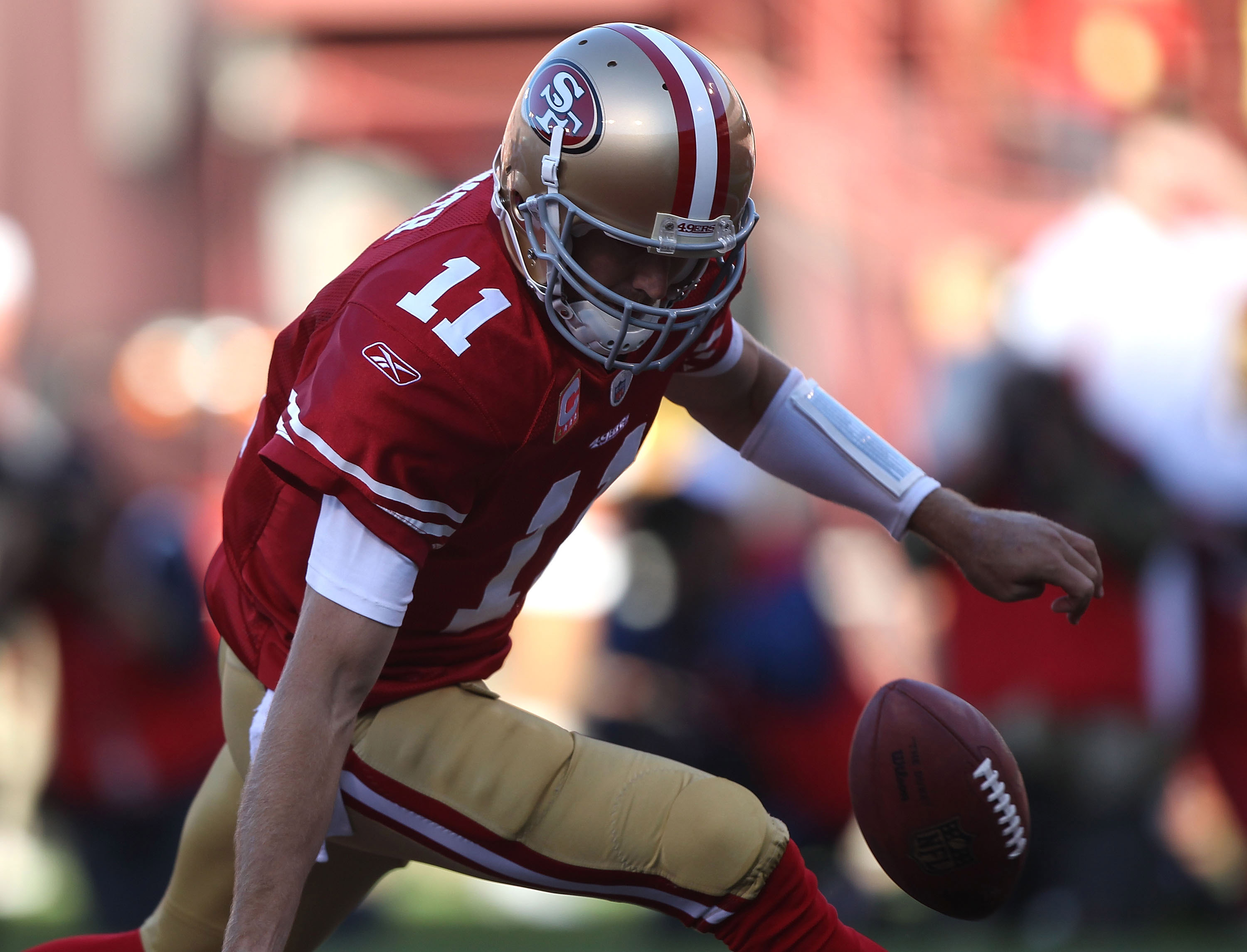 SAN FRANCISCO - SEPTEMBER 20:  Alex Smith #11 of the San Francisco 49ers looses the ball in the endzone for a saftey against the New Orleans Saints during an NFL game at Candlestick Park on September 20, 2010 in San Francisco, California.  (Photo by Jed J
