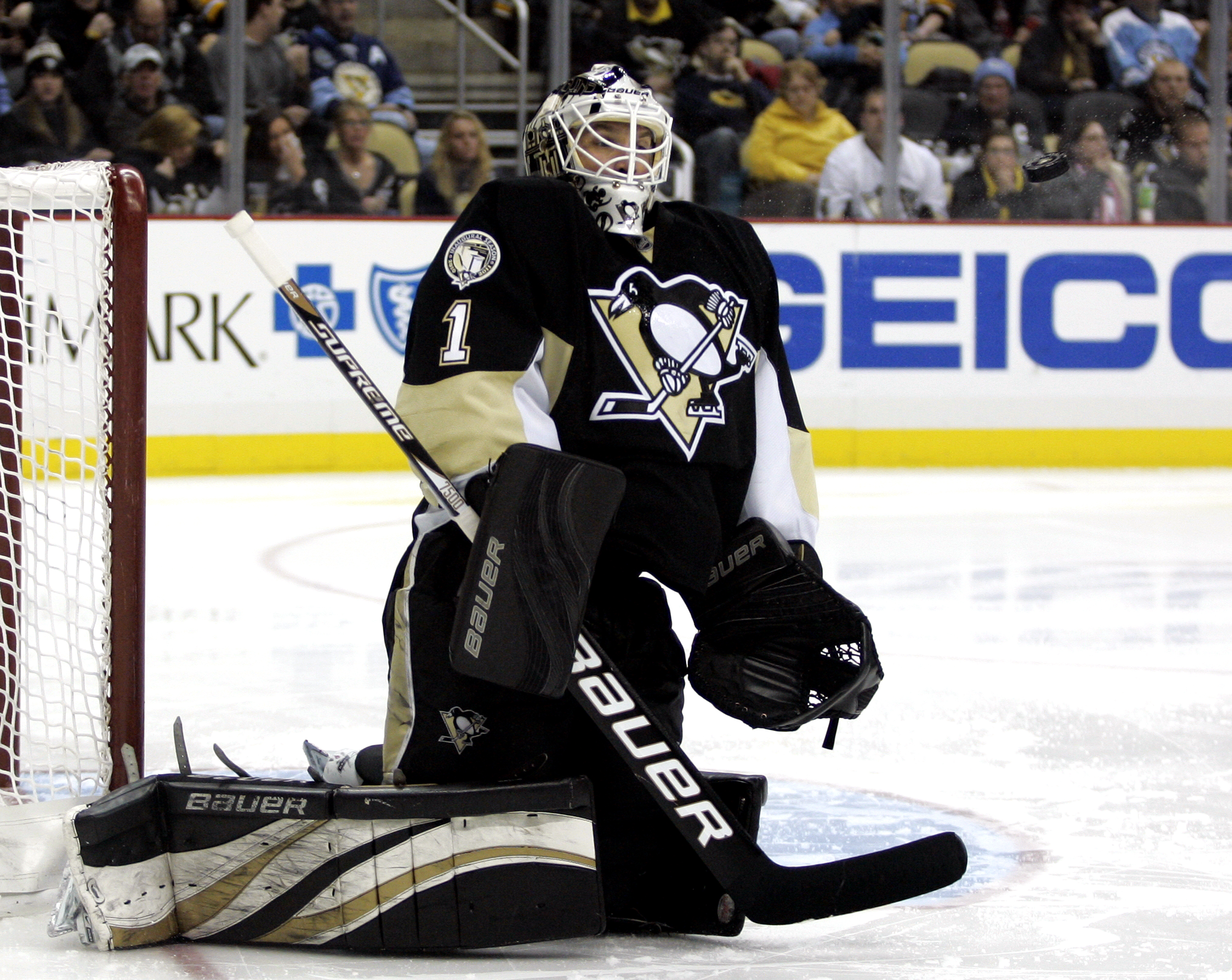 PITTSBURGH, PA - FEBRUARY 02:  Brent Johnson #1 of the Pittsburgh Penguins makes a save against the New York Islanders at Consol Energy Center on February 2, 2011 in Pittsburgh, Pennsylvania.  The Penguins shut out the Islanders 3-0.  (Photo by Justin K.