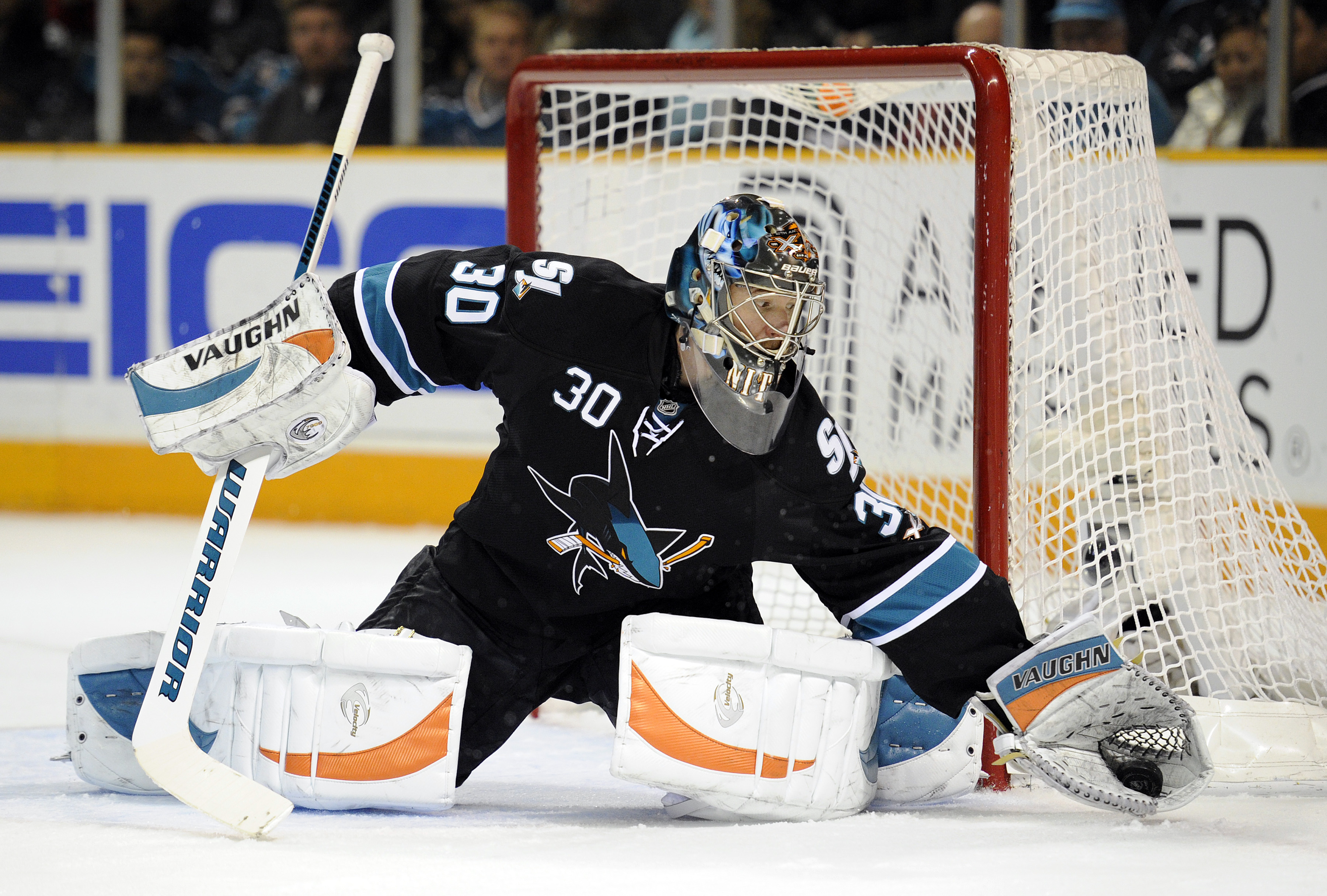 SAN JOSE, CA - JANUARY 6: Goalie Antero Nittymaki #30 of the San Jose Sharks make a save against the Buffalo Sabres during an NHL hockey game at the HP Pavilion on January 6, 2011 in San Jose, California. (Photo by Thearon W. Henderson/Getty Images)