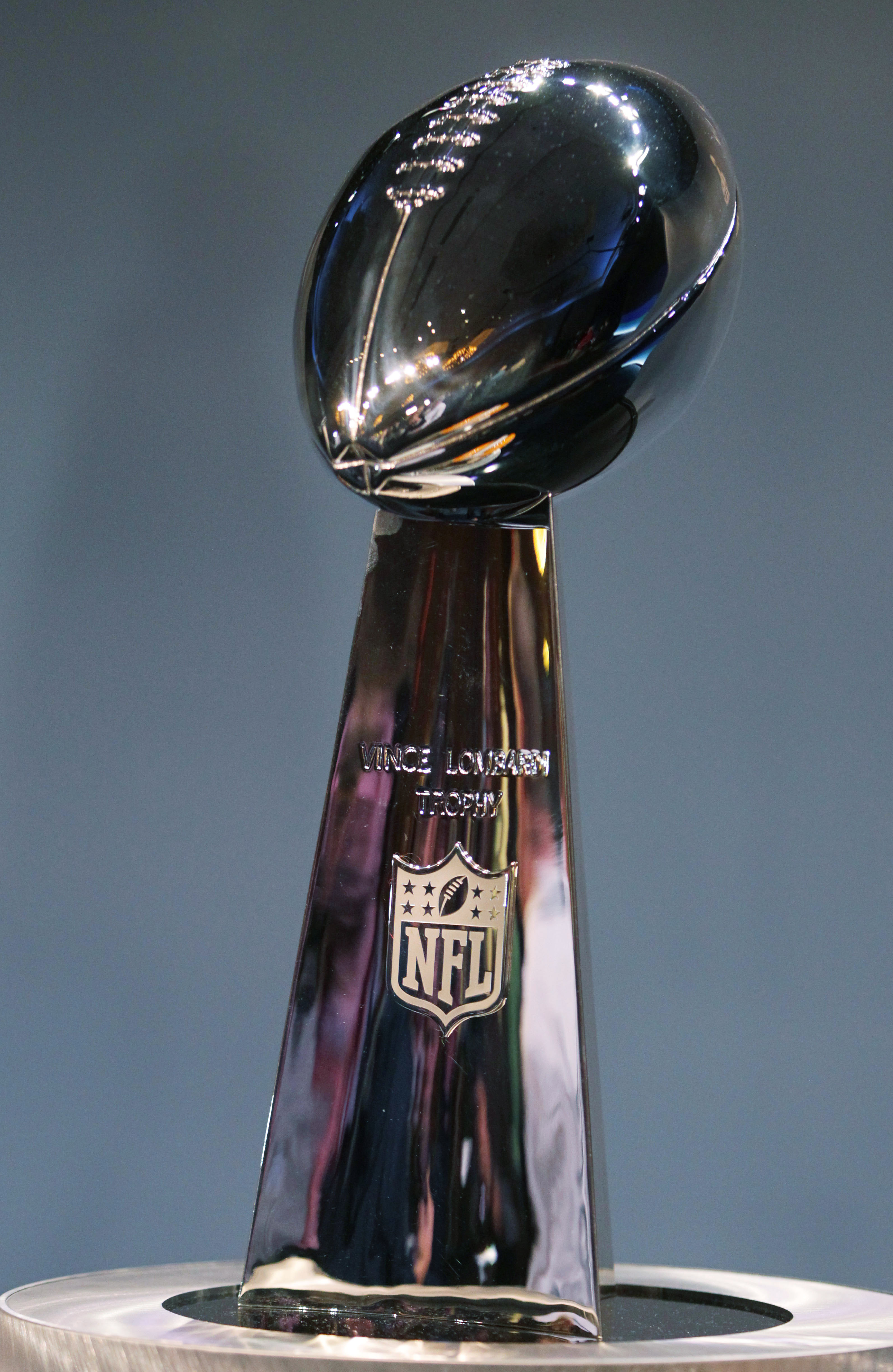 DALLAS, TX - FEBRUARY 04:  The Vince Lombardi Trophy is displayed during a press conference with NFL commissioner Roger Goodell at the Super Bowl XLV media center on February 4, 2011 in Dallas, Texas. The Green Bay Packers will play the Pittsburgh Steeler