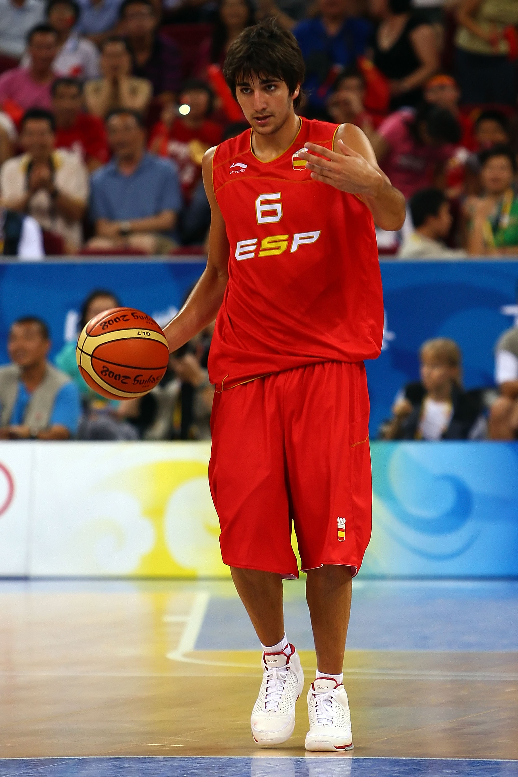 BEIJING - AUGUST 12:  Ricky Rubio #6 of Spain calls a play while taking on China in the preliminary round basketball game held at the Beijing Olympic Basketball Gymnasium during Day 4 of the Beijing 2008 Olympic Games on August 12, 2008 in Beijing, China.
