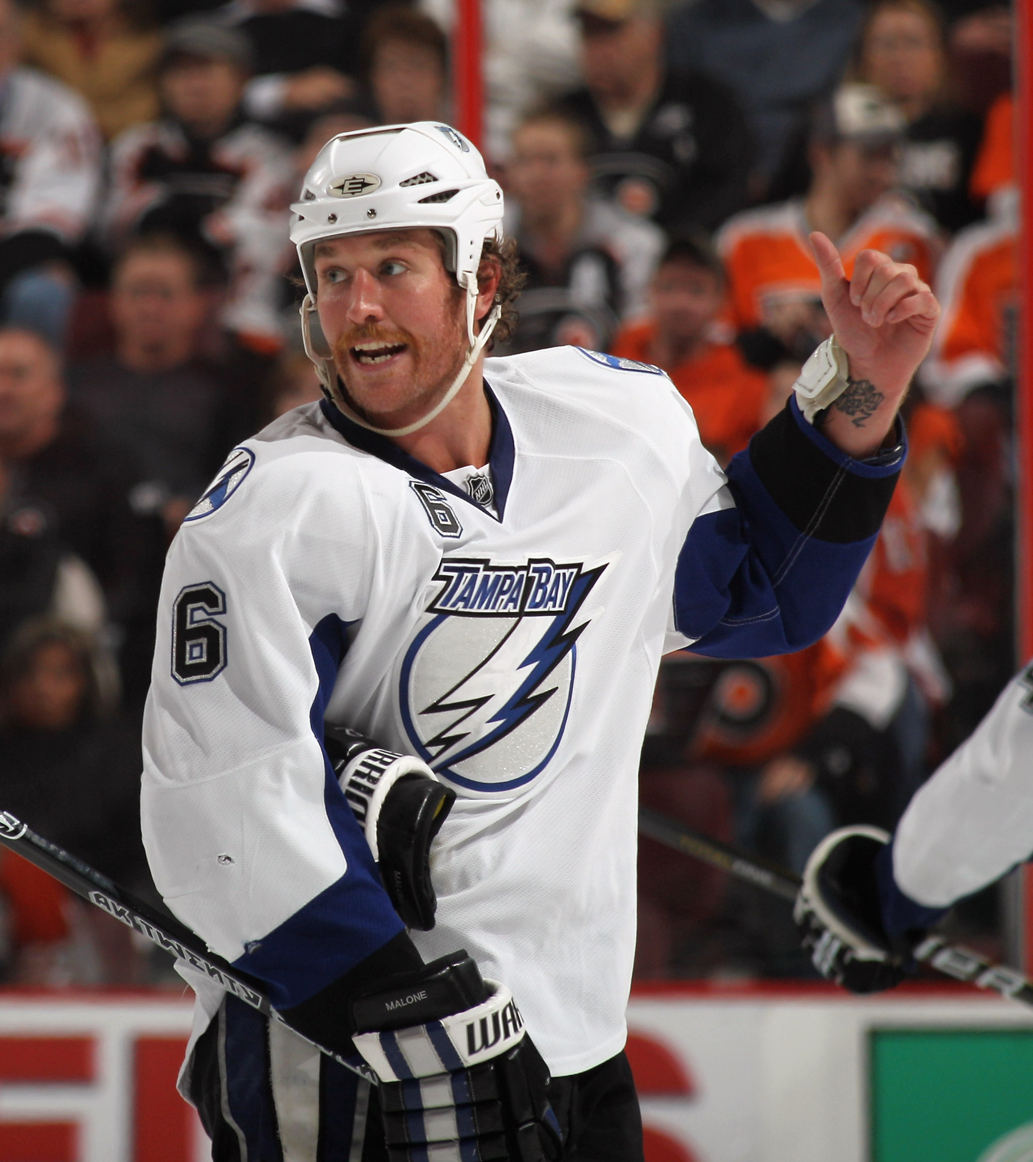 PHILADELPHIA - NOVEMBER 18:  Ryan Malone #6 of the Tampa Bay Lightning skates against the Philadelphia Flyers at the Wells Fargo Center on November 18, 2010 in Philadelphia, Pennsylvania. The Lightning defeated the Flyers 8-7.  (Photo by Bruce Bennett/Get