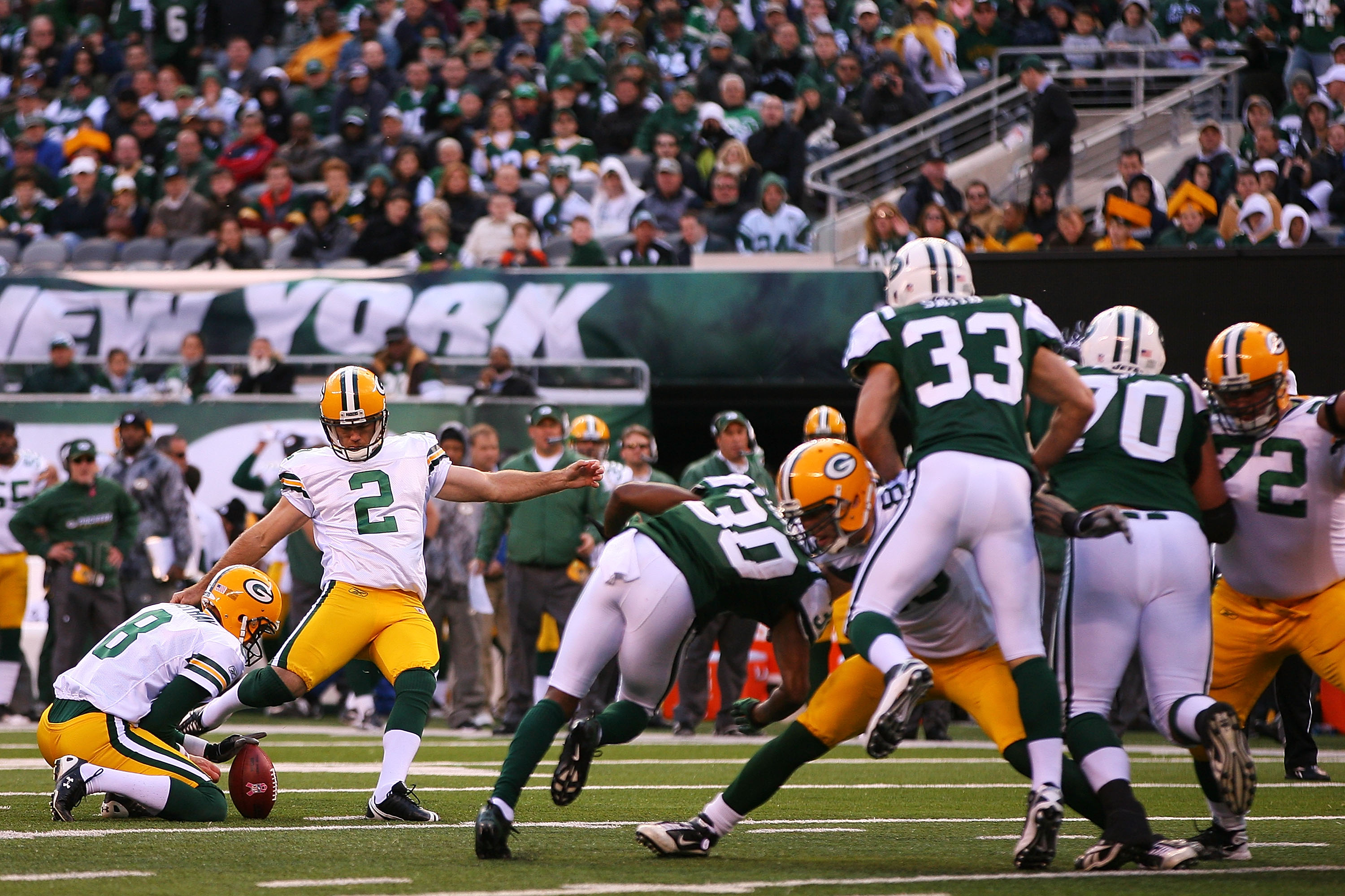 EAST RUTHERFORD, NJ - OCTOBER 31: Mason Crosby #2 of the Green Bay Packers successfully kicks a field goal in the fourth quarter against the New York Jets on October 31, 2010 at the New Meadowlands Stadium in East Rutherford, New Jersey. The Packers defea