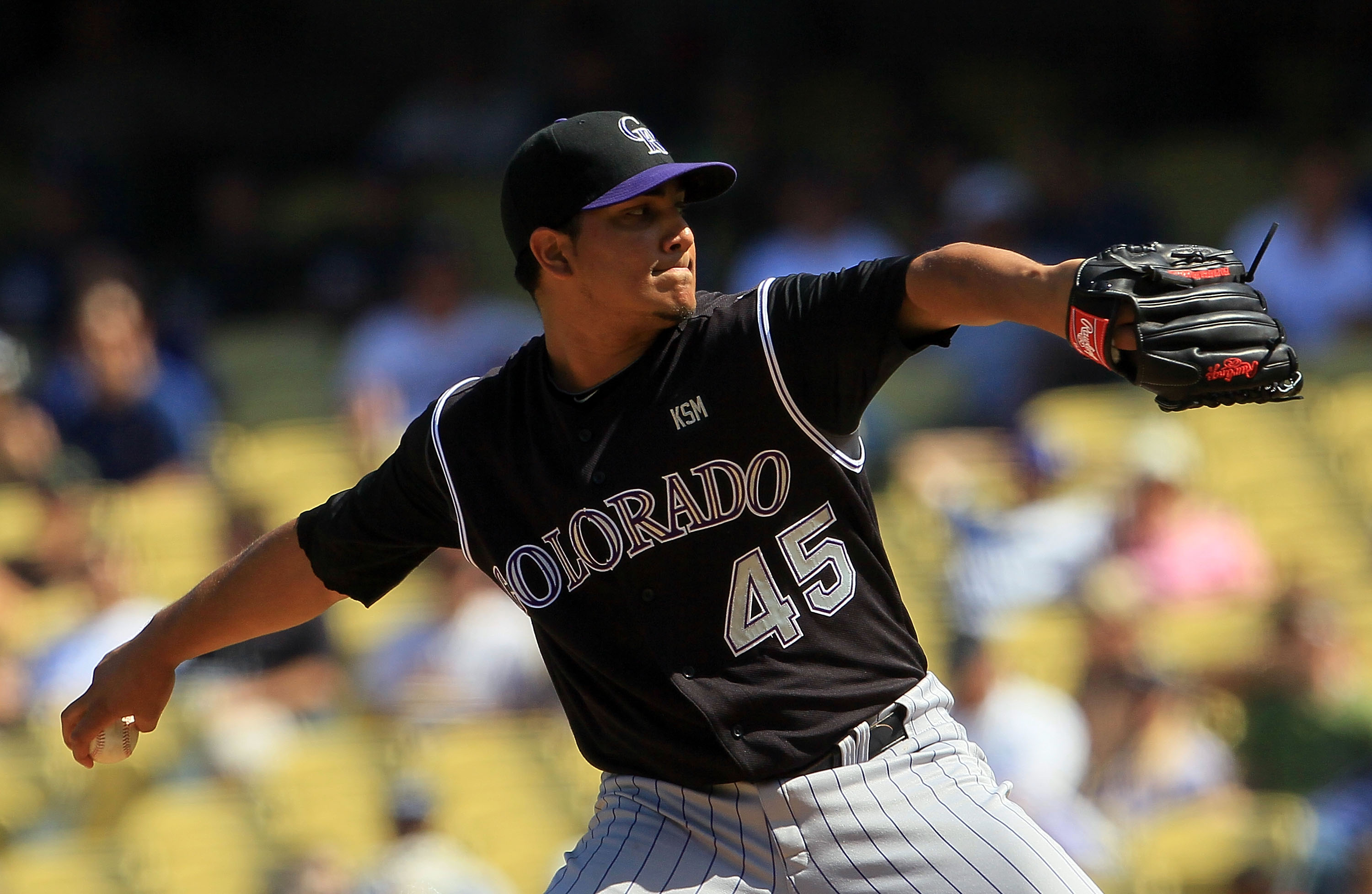 LOS ANGELES, CA - SEPTEMBER 18:  Jhoulys Chacin #45 of the Colorado Rockies pitches against the Los Angeles Dodgers in the game at Dodger Stadium on September 18, 2010 in Los Angeles, California.  (Photo by Jeff Gross/Getty Images)