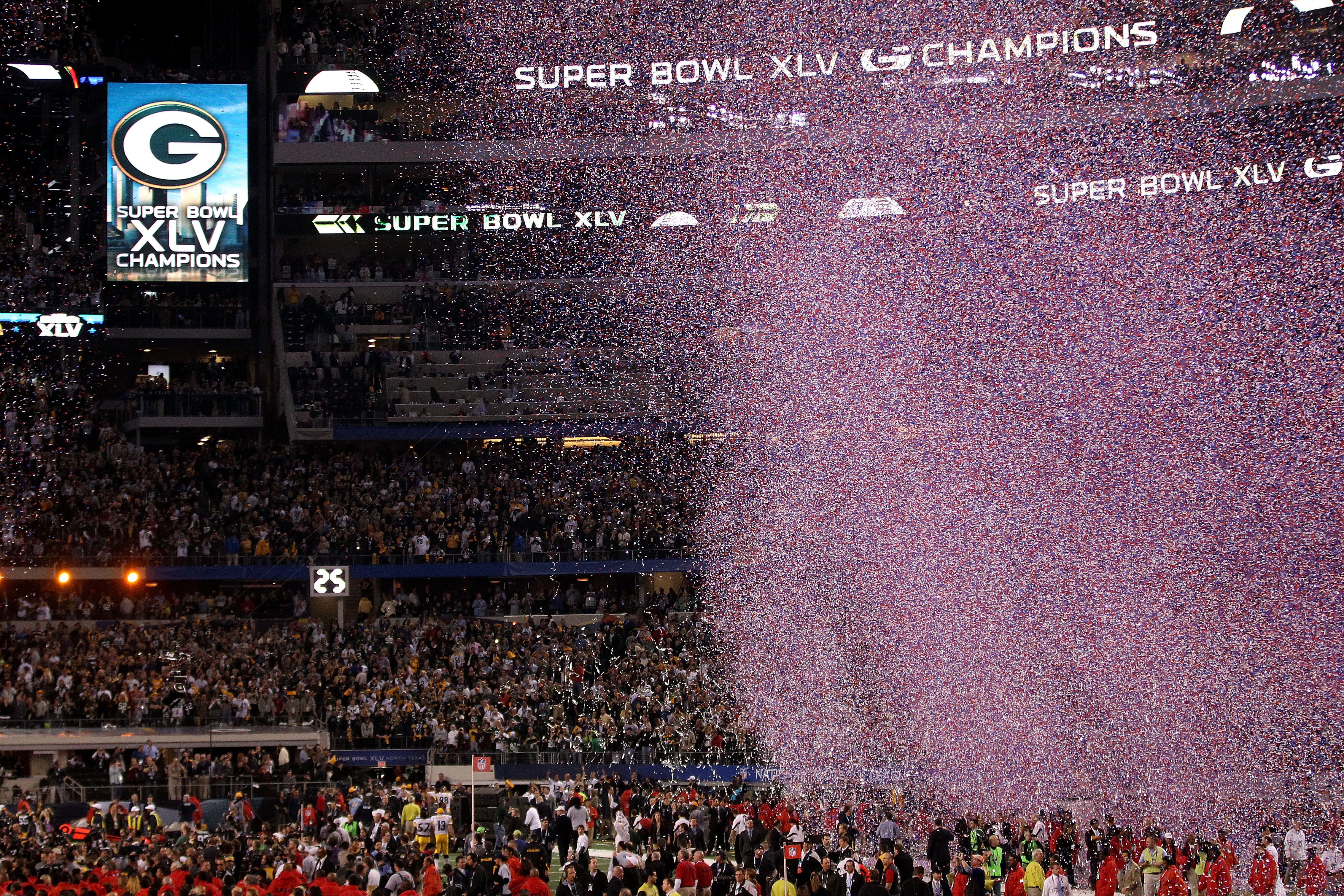 ARLINGTON, TX - FEBRUARY 06: Confetti falls after the Green Bay Packers win Super Bowl XLV against the Pittsburgh Steelers at Cowboys Stadium on February 6, 2011 in Arlington, Texas.  (Photo by Streeter Lecka/Getty Images)