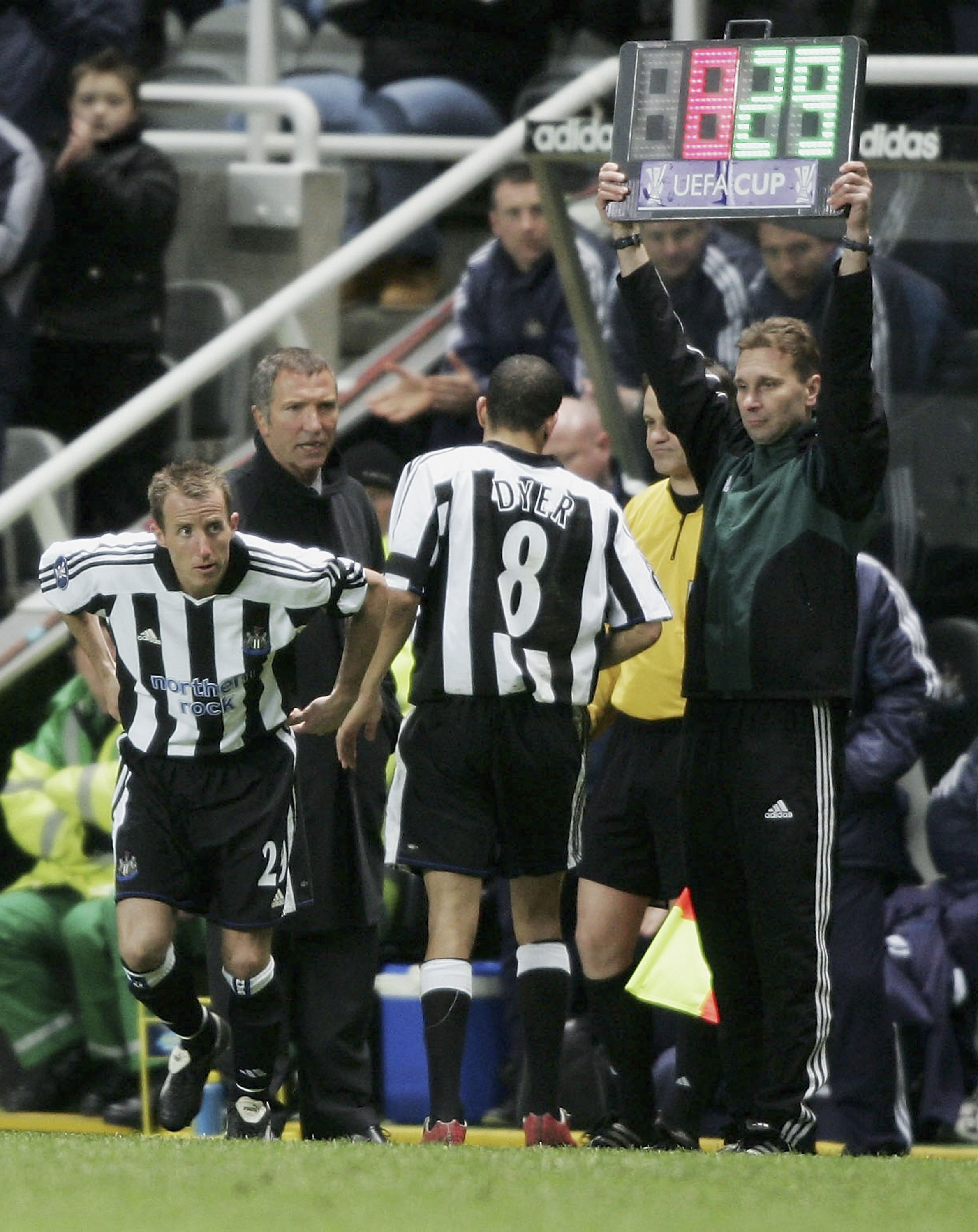 NEWCASTLE, ENGLAND - APRIL 7:  Kieron Dyer is replaced on the field by Lee Bowyer as manager Graeme Souness looks on  during the UEFA Cup Quarter Final first leg between Newcastle United and Sporting Lisbon at St James Park on April 7, 2005 in Newcastle,