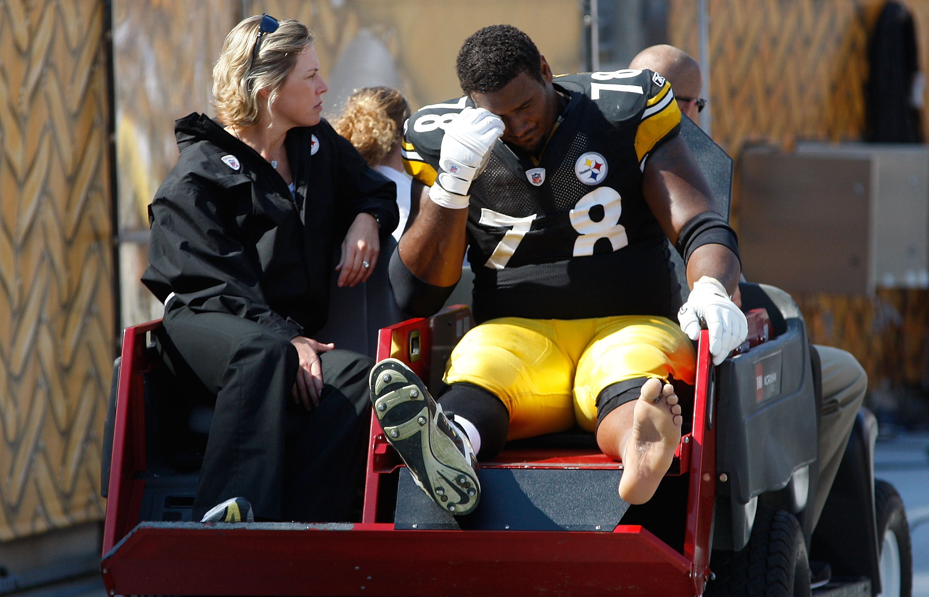 PITTSBURGH - SEPTEMBER 12:  Max Starks #78 of the Pittsburgh Steelers is carted off the field after getting injured against the Atlanta Falcons during the NFL season opener game on September 12, 2010 at Heinz Field in Pittsburgh, Pennsylvania.  (Photo by