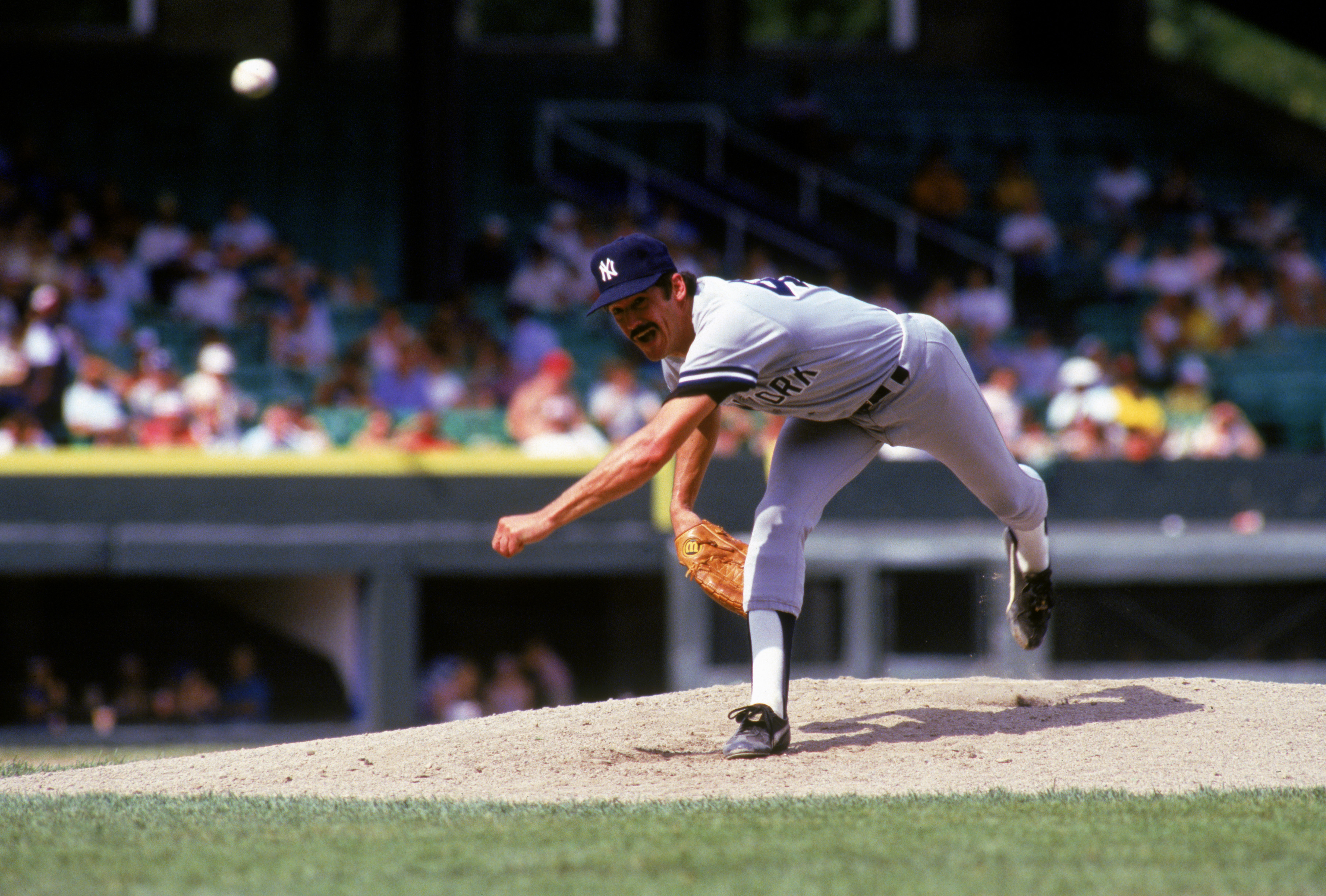 CHICAGO - 1987:  Ron Guidry #49 of the New York Yankees pitches during a game in the 1987 season against the Chicago White Sox at Comiskey Park in Chicago, Illinois. (Photo by Jonathan Daniel/Getty Images)