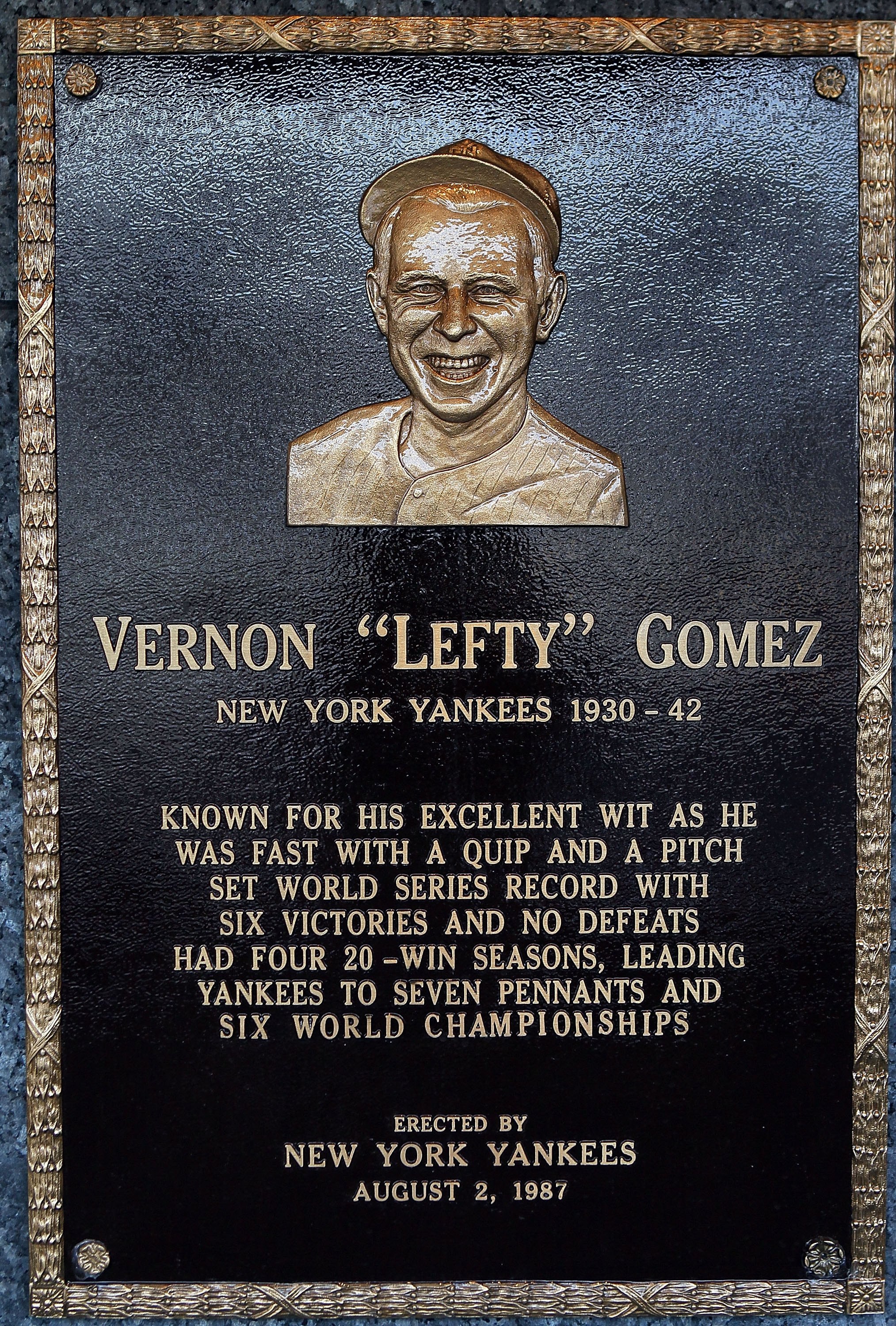 NEW YORK - MAY 02:  The plaque of Lefty Gomez is seen in Monument Park at Yankee Stadium prior to the game between the New York Yankees and the Chicago White Sox on May 2, 2010 in the Bronx borough of New York City. The Yankees defeated the White Sox 12-3