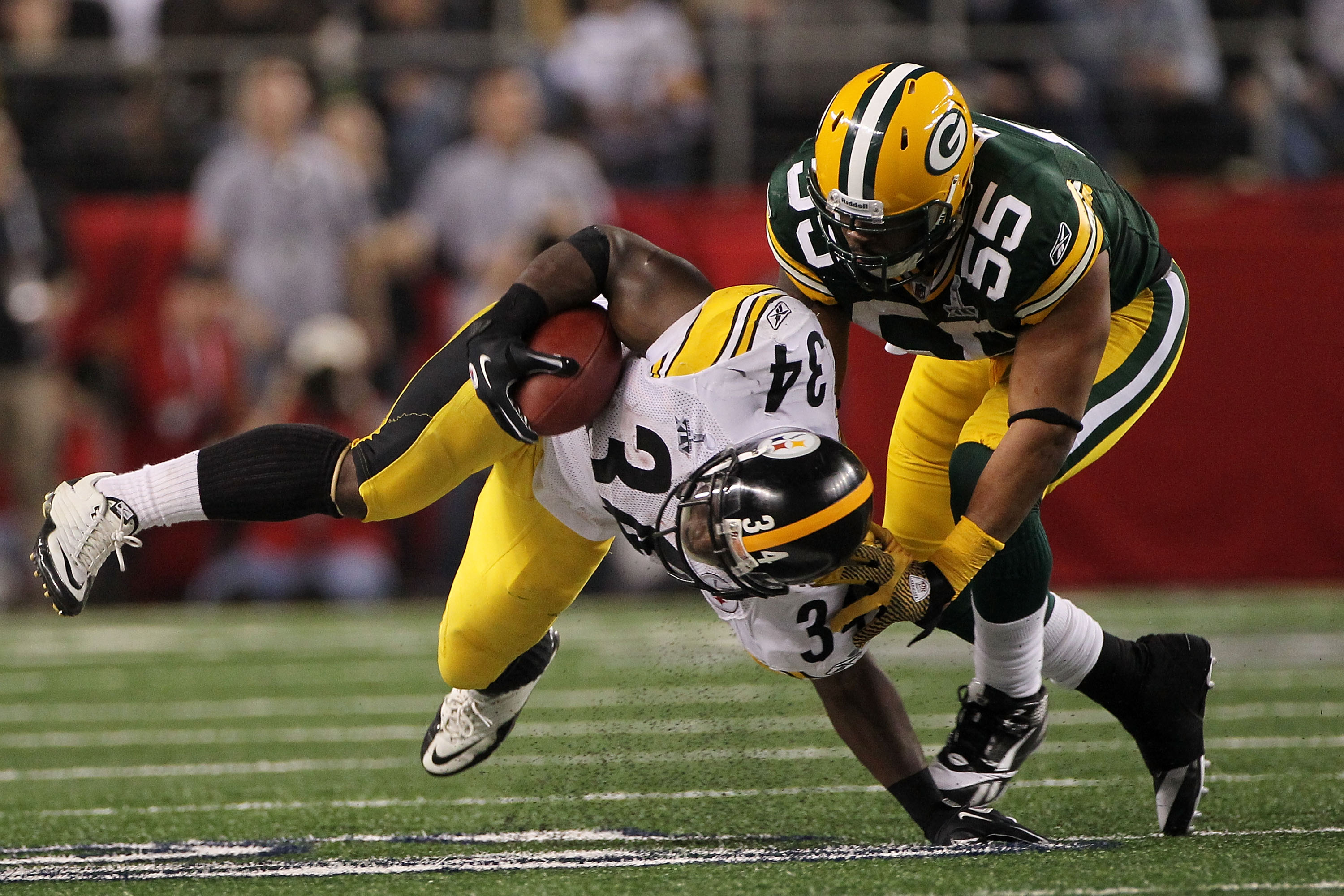 Desmond Bishop was the man who picked up Mendenhall's costly fumble, which was caused by Clay Matthews.