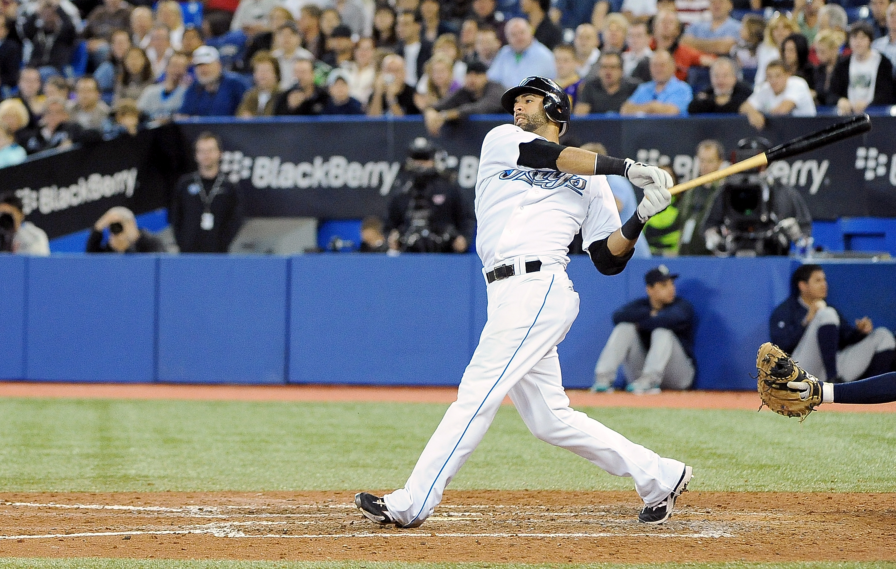 TORONTO, ON - SEPTEMBER 22: Jose Bautista #19 of the Toronto Blue Jays fouls a pitch off during a game against the Seattle Mariners> on September 22, 2010 at the Rogers Centre in Toronto, Canada. (Photo by Matthew Manor/Getty Images)