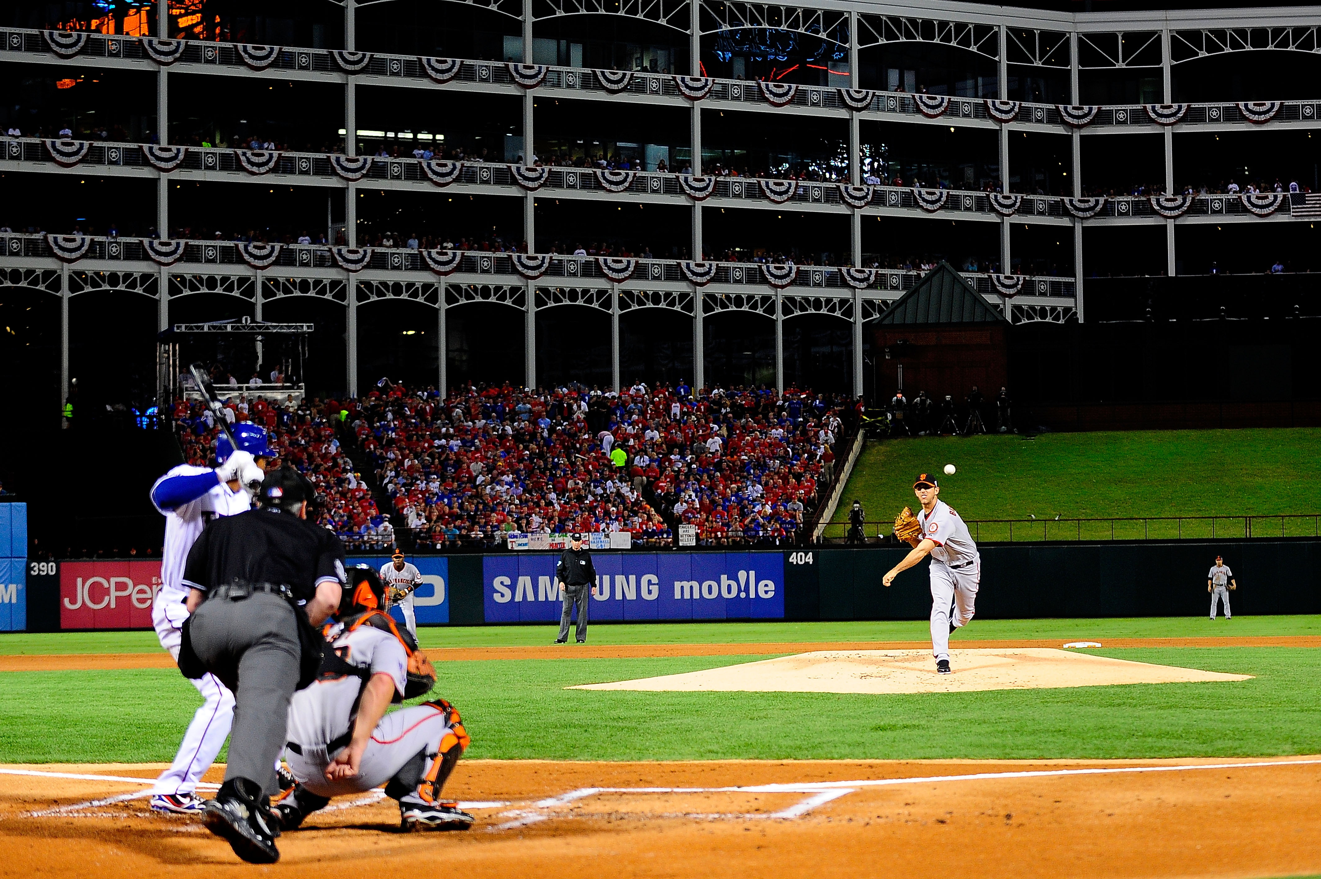 ARLINGTON, TX - OCTOBER 31:  Starting pitcher Madison Bumgarner #40 of the San Francisco Giants pitches against the Texas Rangers in Game Four of the 2010 MLB World Series at Rangers Ballpark in Arlington on October 31, 2010 in Arlington, Texas.  (Photo b