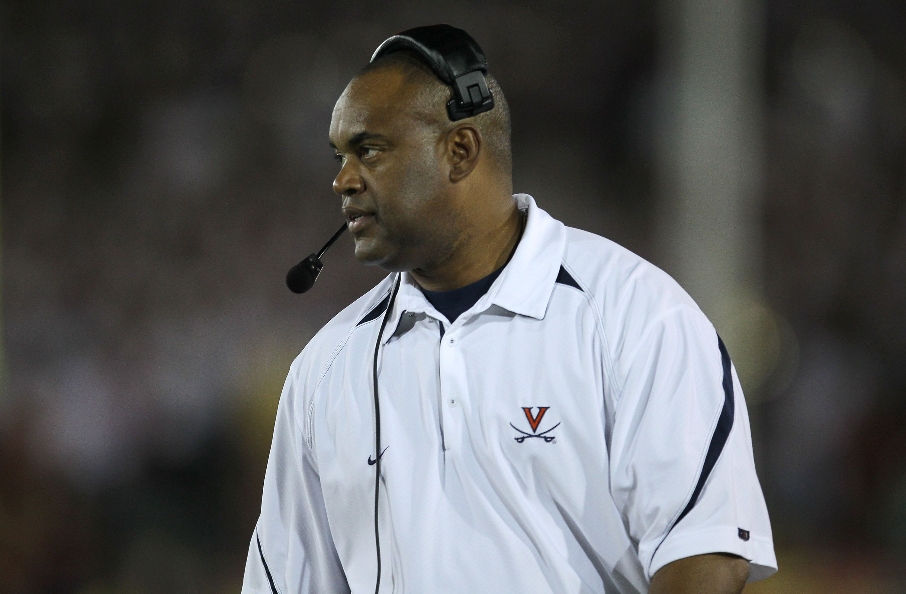 LOS ANGELES, CA - SEPTEMBER 11:  Head coach Mike London of the Virginia Cavaliers on the sidelines during the game against the USC Trojans at Los Angeles Memorial Coliseum on September 11, 2010 in Los Angeles, California. USC won 17-14.  (Photo by Stephen