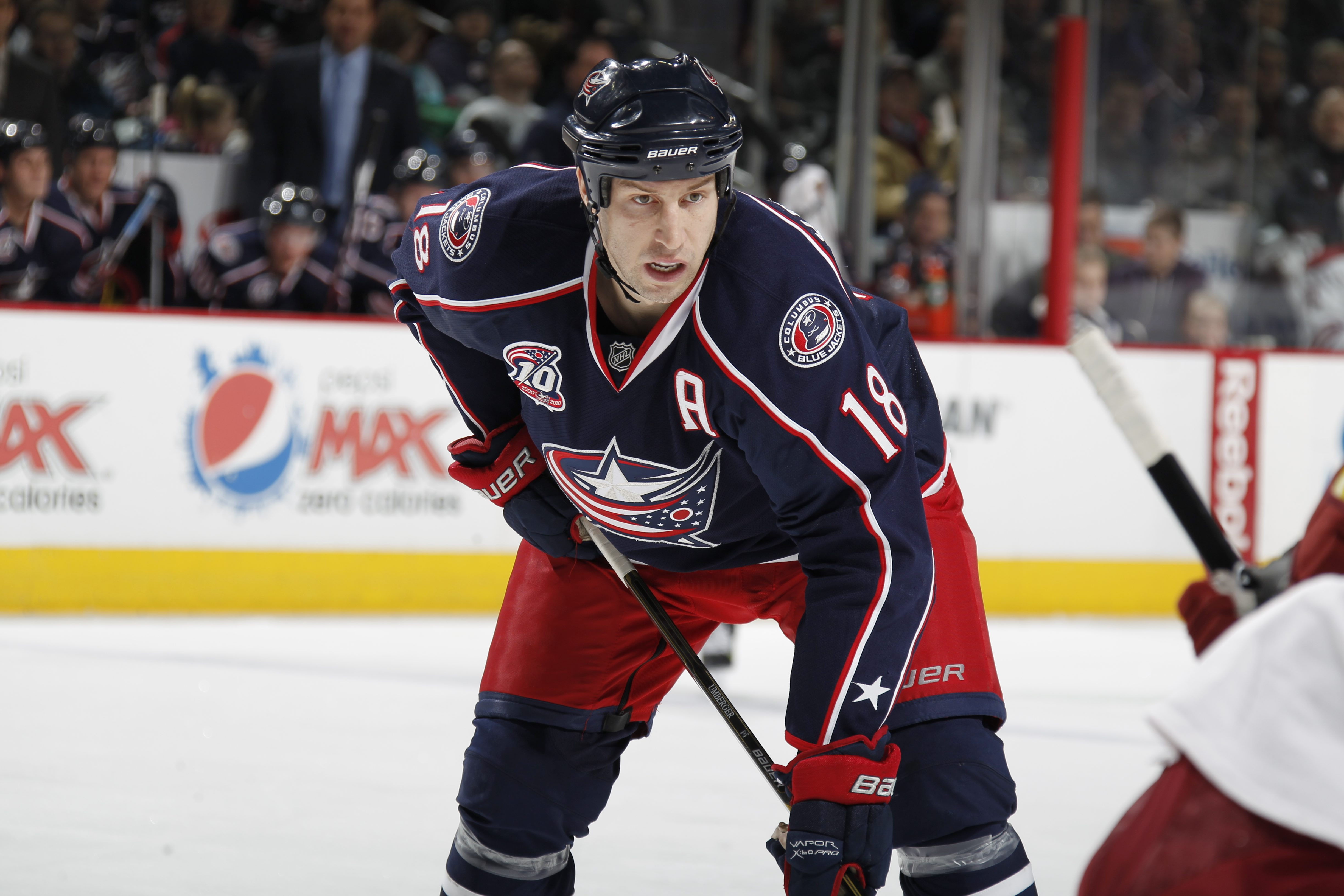 COLUMBUS, OH - JANUARY 11: RJ Umberger #18 of the Columbus Blue Jackets skates against the Phoenix Coyotes during a game on January 11, 2011 at the Nationwide Arena in Columbus, Ohio. (Photo by Gregory Shamus/Getty Images)