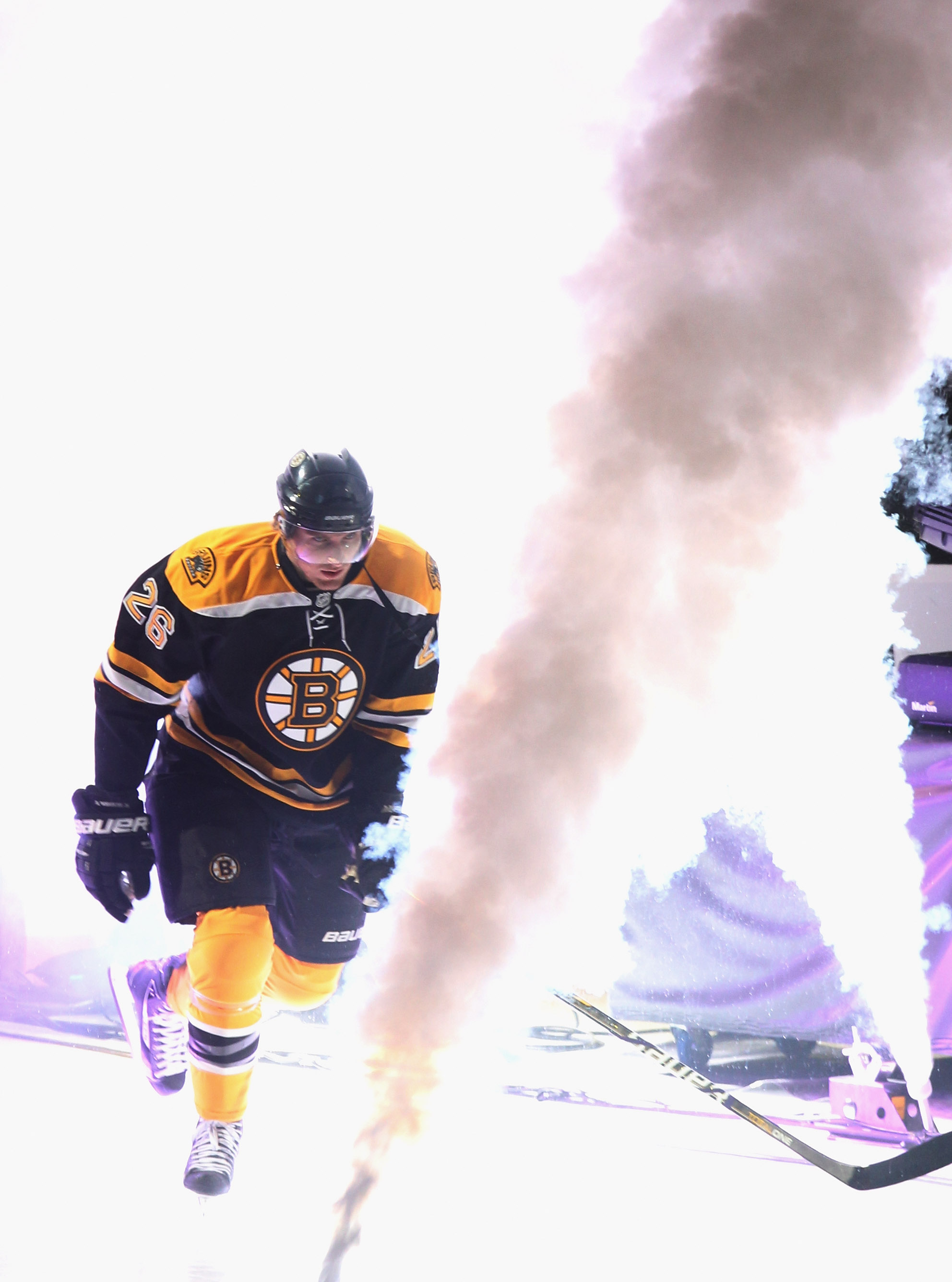 BOSTON - OCTOBER 21: Blake Wheeler #26 of the Boston Bruins skates out to play against the  Washington Capitals at the TD Garden on October 21, 2010 in Boston, Massachusetts.  (Photo by Bruce Bennett/Getty Images)