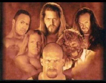 The Rock, Big Show, The Undertaker, Triple H, Mankind and Steve Austin.