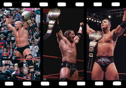 Steve Austin, HHH and The Rock with the WWF Championship.