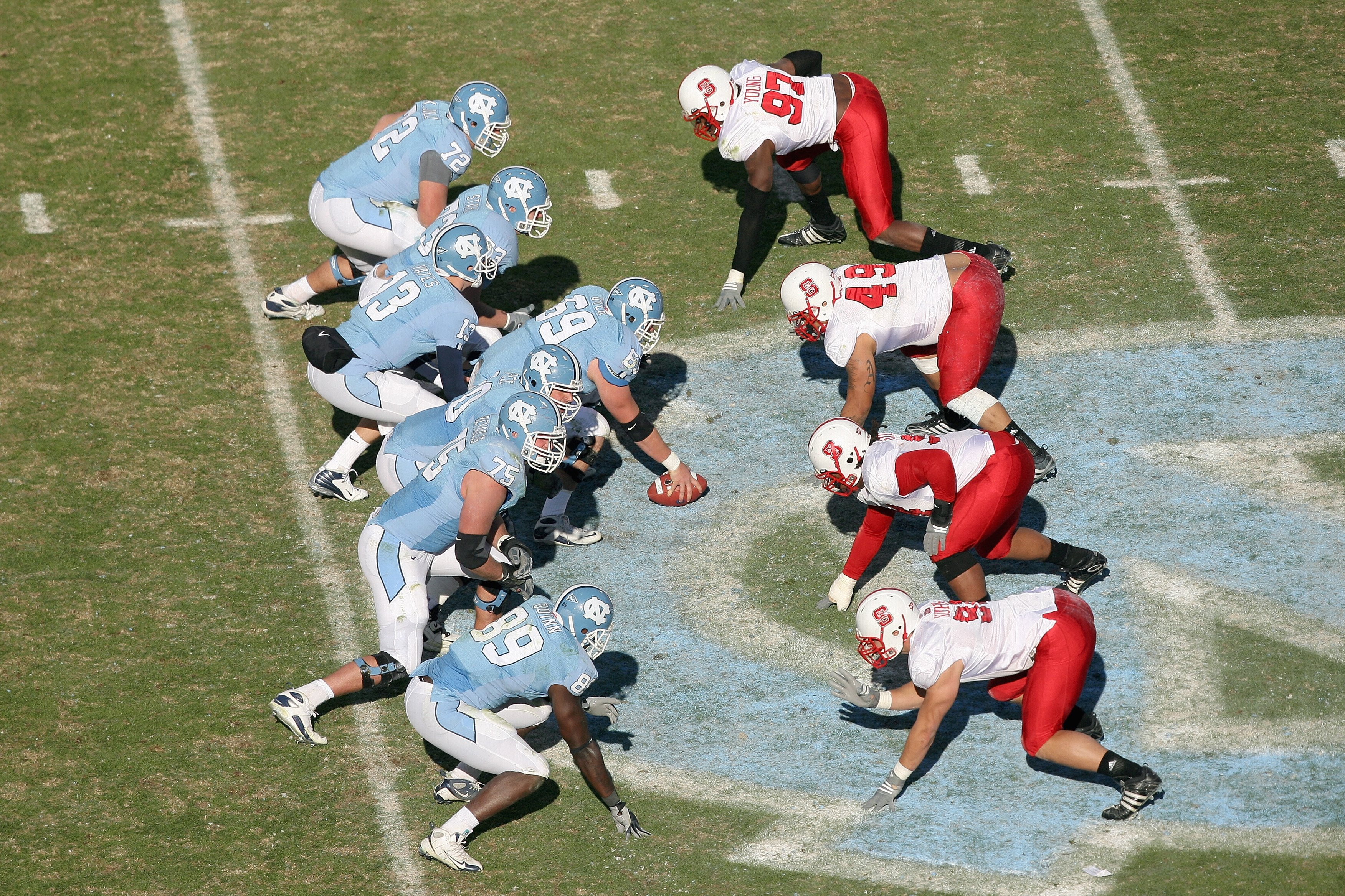 CHAPEL HILL, NC - NOVEMBER 22: A general view of the North Carolina State Wolfpack lining up against the North Carolina Tar Heels during the game at Kenan Stadium on November 22, 2008 in Chapel Hill, North Carolina. (Photo by Streeter Lecka/Getty Images)