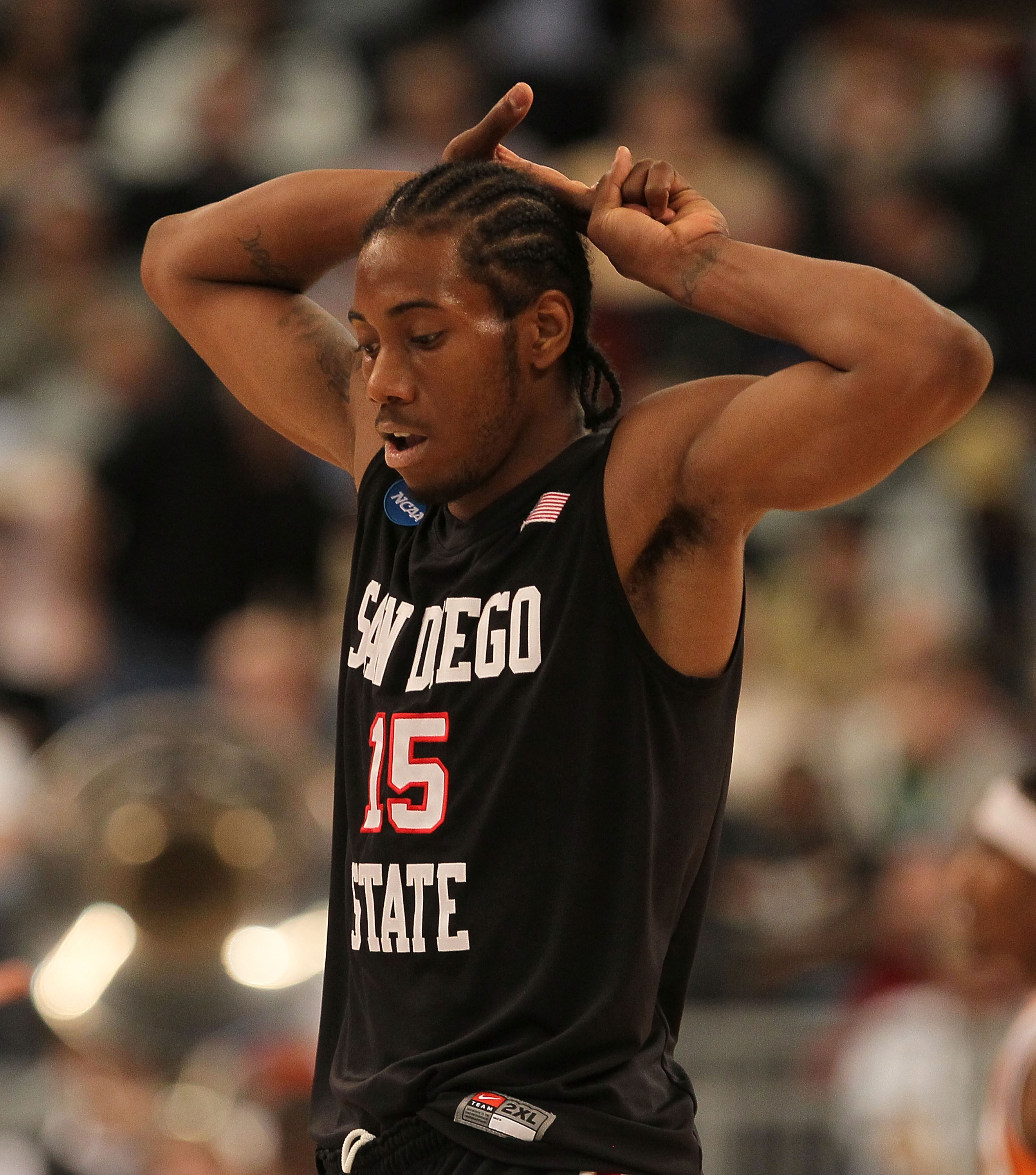 PROVIDENCE, RI - MARCH 18:  Kawhi Leonard #15 of the San Diego State Axtecs reacts against the Tennessee Volunteers during the first round of the 2010 NCAA men's basketball tournament at Dunkin' Donuts Center on March 18, 2010 in Providence, Rhode Island.