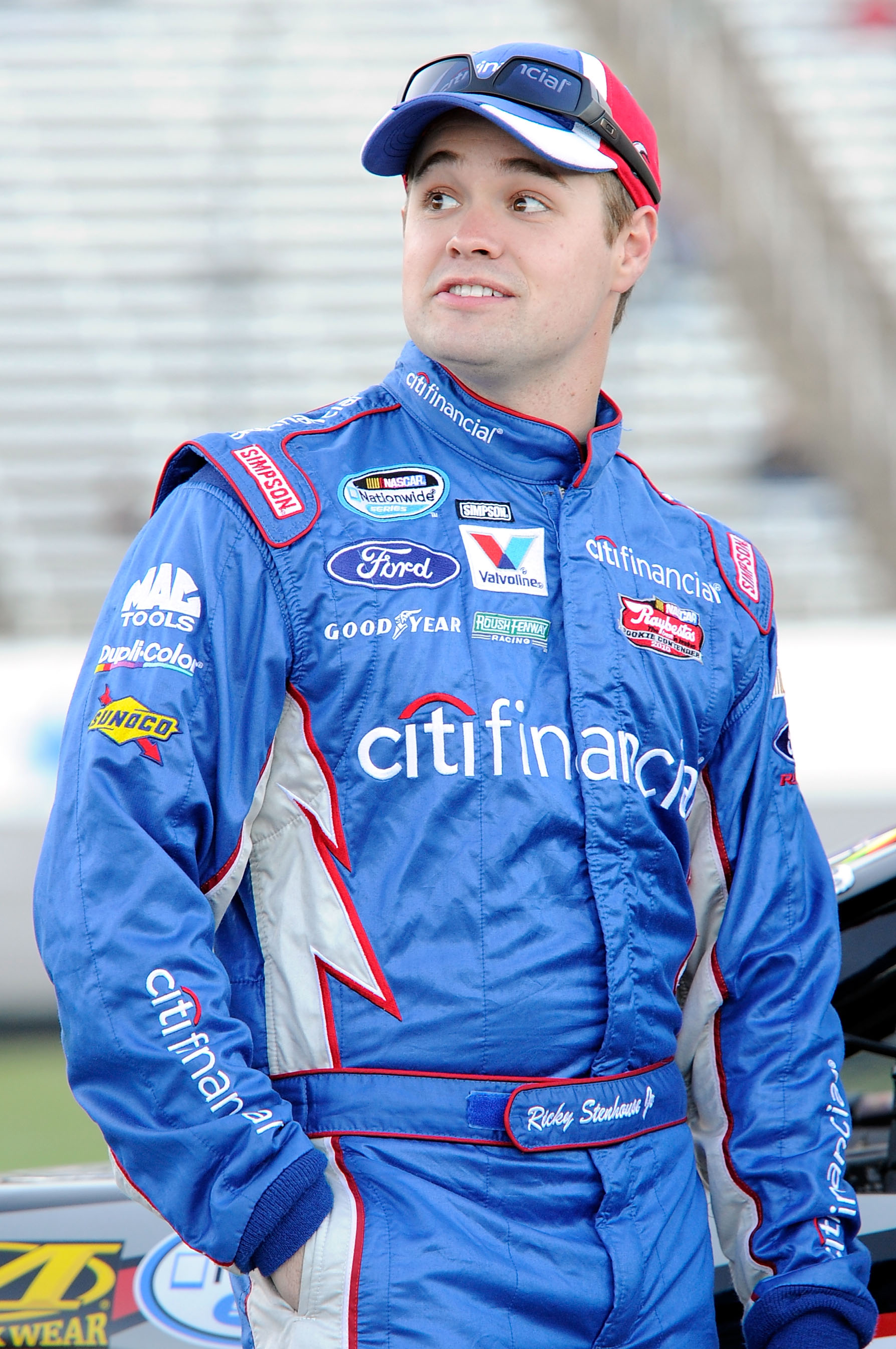 FORT WORTH, TX - NOVEMBER 05:  Ricky Stenhouse Jr., driver of the #6 CitiFinancial Ford, stands on the grid during qualifying for the NASCAR Nationwide Series O'Reilly Auto Parts Challenge at Texas Motor Speedway on November 5, 2010 in Fort Worth, Texas.