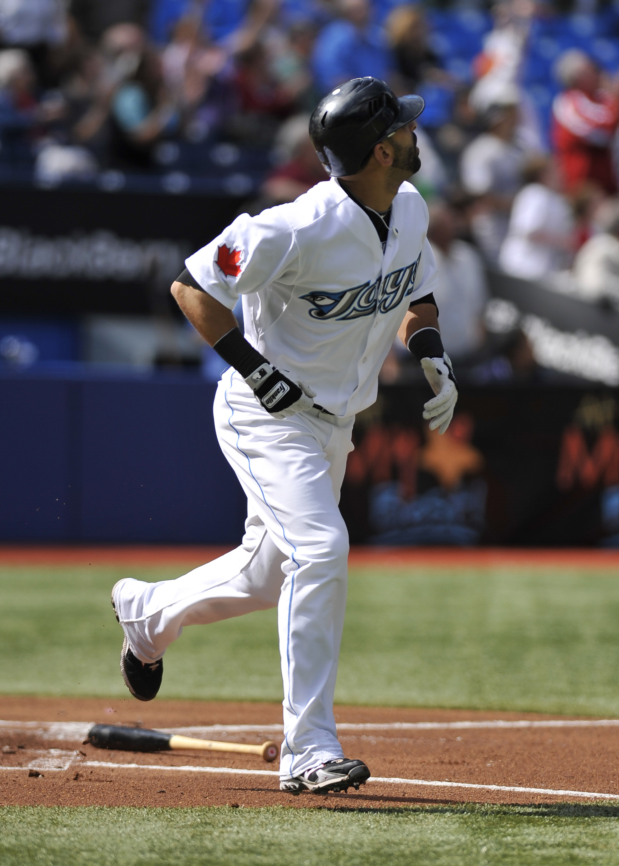 TORONTO - SEPTEMBER 23:   Jose Bautista #19 of the Toronto Blue Jays looks as his 50th home run of the season leaves the ball park during the game against the Seattle Mariners on September 23, 2010 at Rogers Centre in Toronto, Ontario, Canada. The Blue Ja