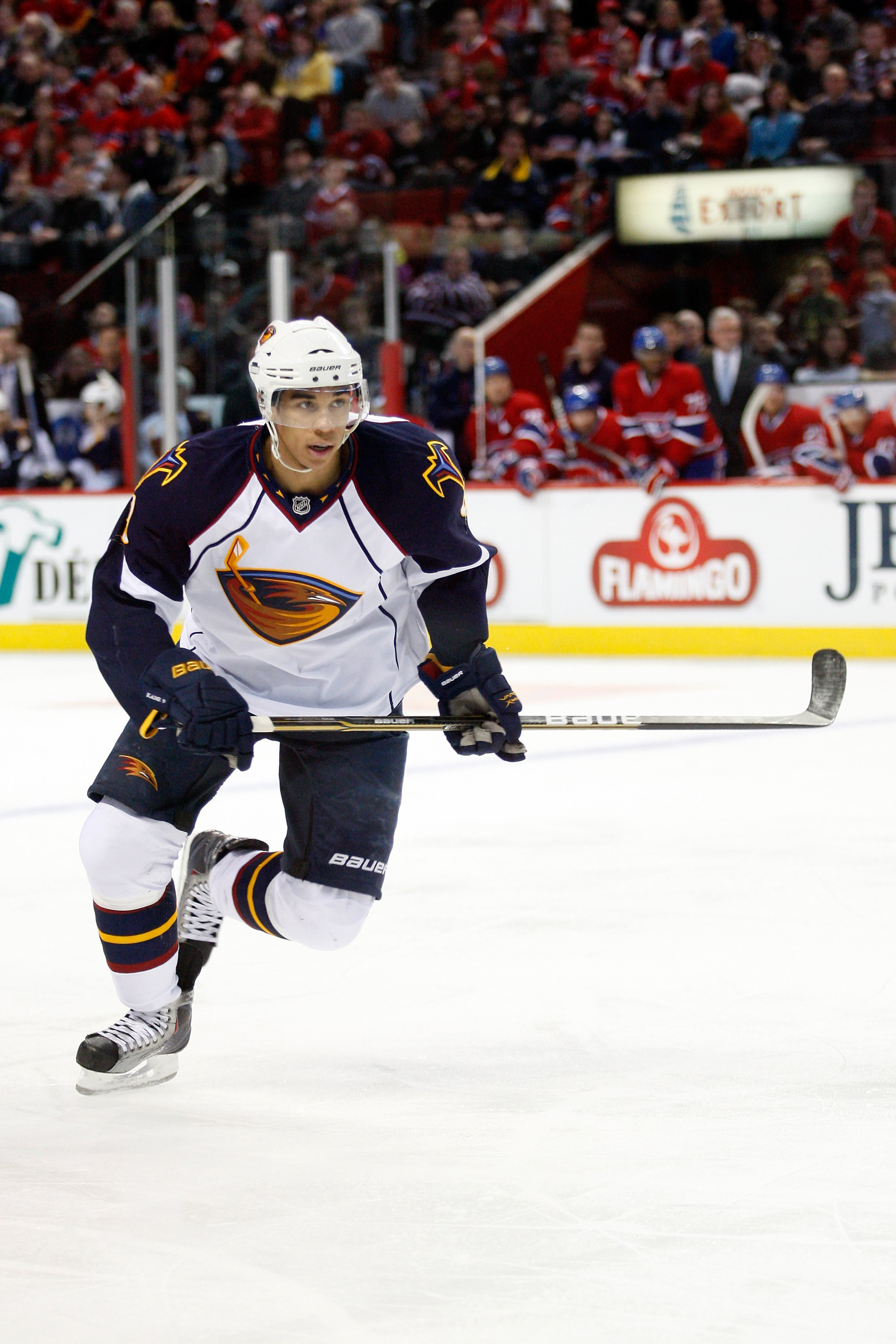 MONTREAL, CANADA - JANUARY 2:  Evander Kane #9 of the Atlanta Thrashers skates during the NHL game against the Montreal Canadiens at the Bell Centre on January 2, 2011 in Montreal, Quebec, Canada.  The Thrashers defeated the Canadiens 4-3 in overtime.  (P
