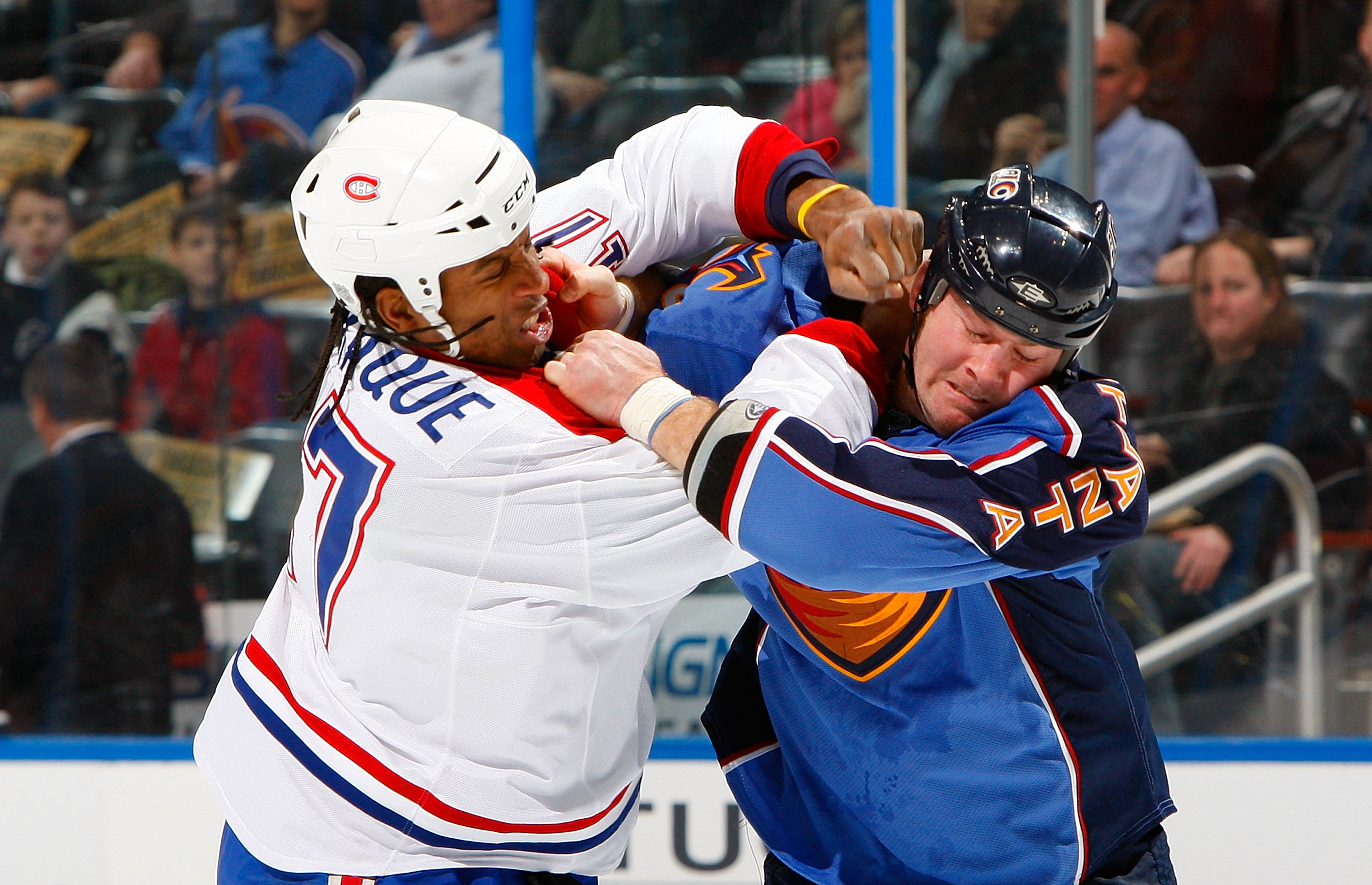 ATLANTA - DECEMBER 12:  Georges Laraque #17 of the Montreal Canadiens fights with Eric Boulton #36 of the Atlanta Thrashers at Philips Arena on December 12, 2009 in Atlanta, Georgia.  (Photo by Kevin C. Cox/Getty Images)