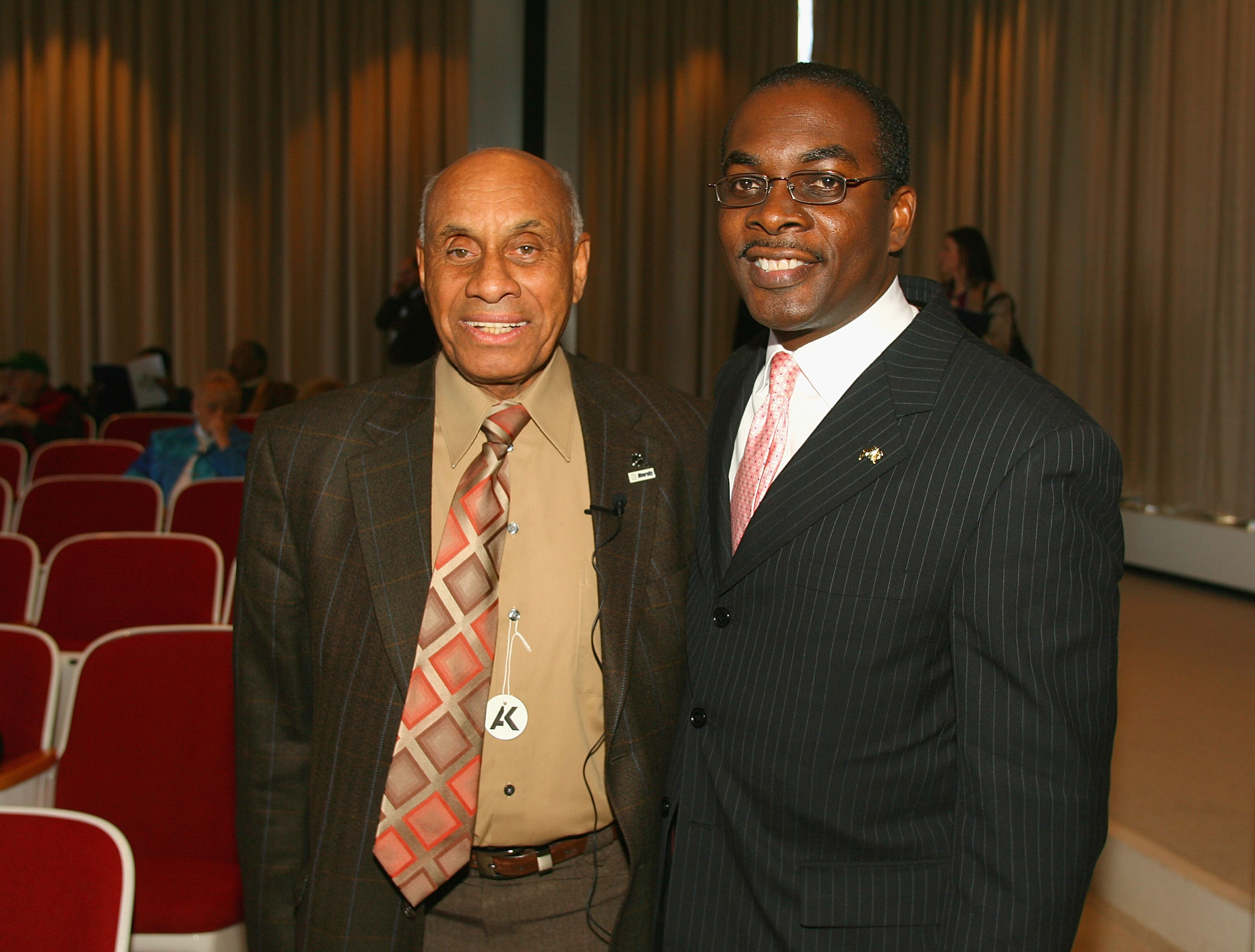 BUFFALO, NY - MARCH 26: Willie O'Ree, Director of Youth Development for the NHL, meets with Buffalo Mayor Byron W. Brown the 2010 Willie O'Ree skills weekend - welcome celebration at the Albright Knox Art Gallery on March 26, 2010 in Buffalo, New York.  (
