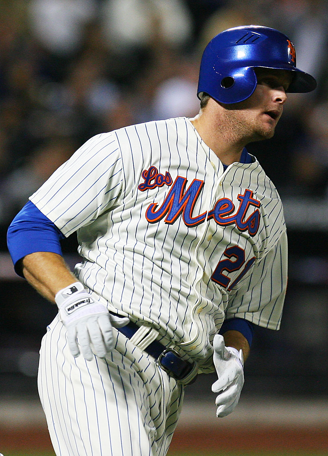NEW YORK - SEPTEMBER 17: Josh Thole #21 of the New York Mets runs the bases after hitting his first ever Major League Baseball home run in the fourth inning against the Atlanta Braves on September 17, 2010 at Citi Field in the Flushing neighborhood of the