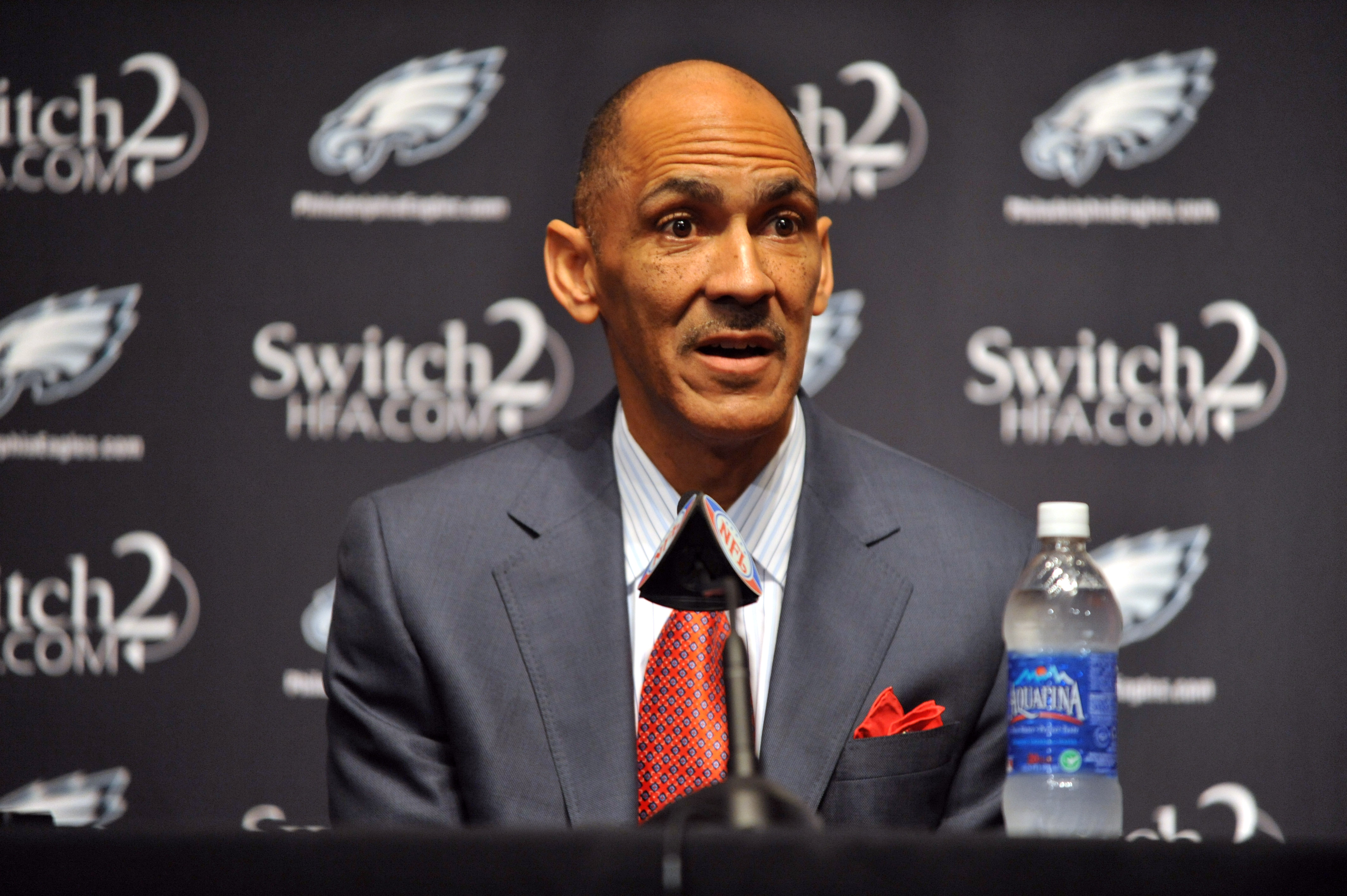 PHILADELPHIA - AUGUST 14: Tony Dungy speaks at a press conference introducing Michael Vick at the NovaCare Complex on August 14, 2009 in Philadelphia, Pennsylvania. Vick signed a one-year contract, with a second year option, with the Eagles.  (Photo by La