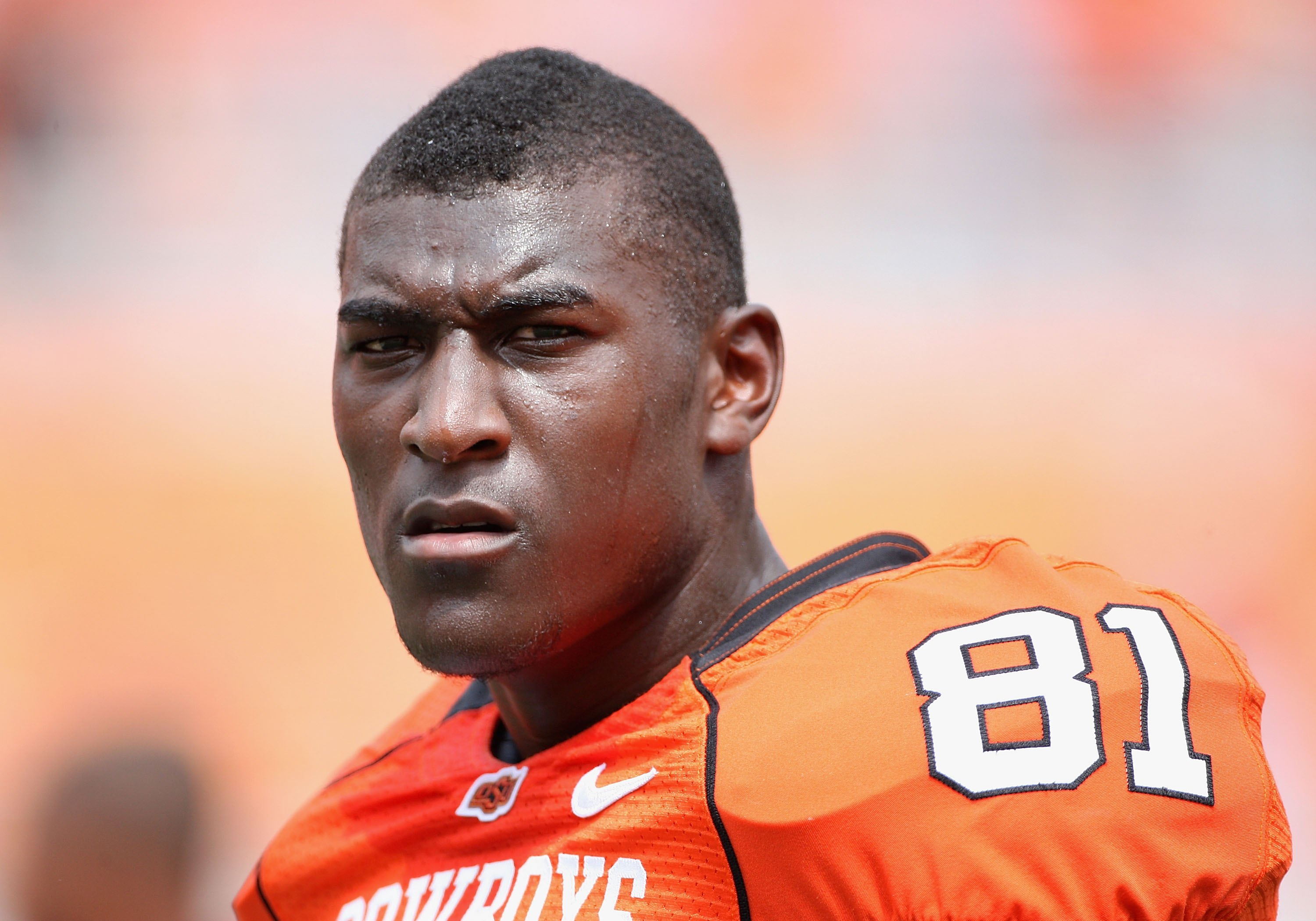STILLWATER, OK - SEPTEMBER 05:  Wide receiver Justin Blackmon #81 of the Oklahoma State Cowboys warms up before the college football game against the Georgia Bulldogs at Boone Pickens Stadium on September 5, 2009 in Stillwater, Oklahoma.  The Cowboys defe