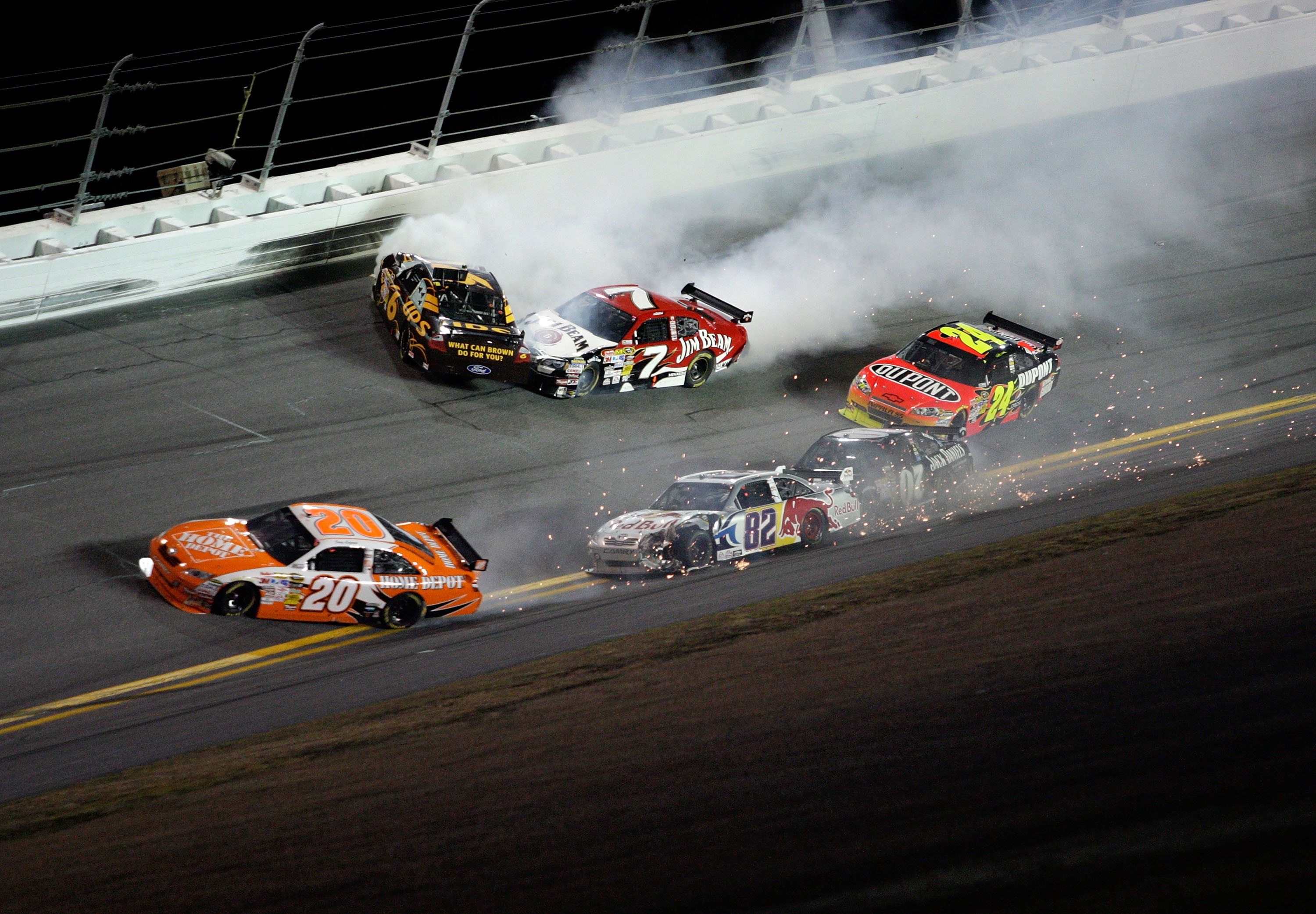 Joey Logano's Bud Shootout ended with this incident in 2010.