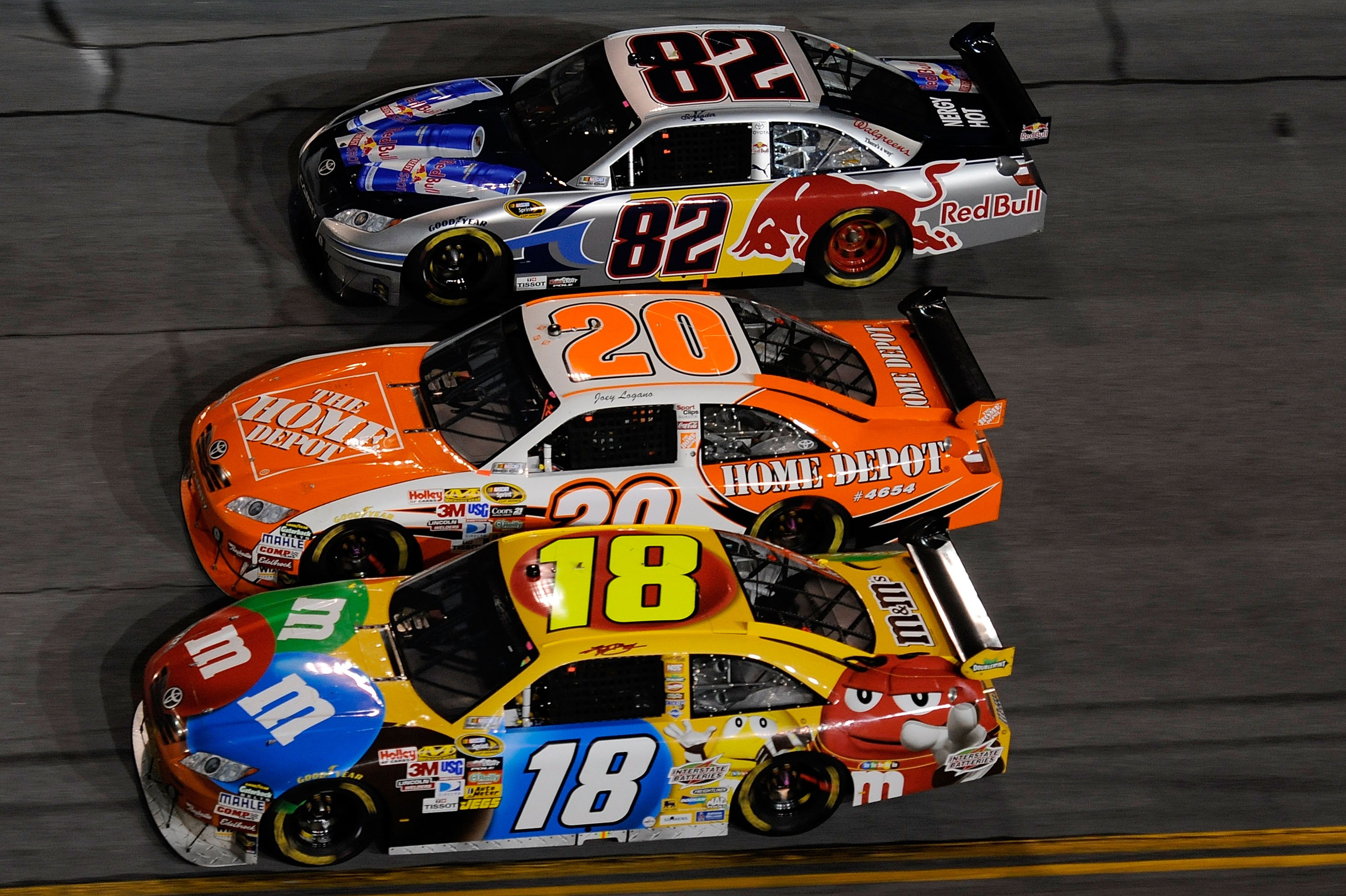 Kyle Busch is never afraid to stick his car in precarious spots at Daytona.