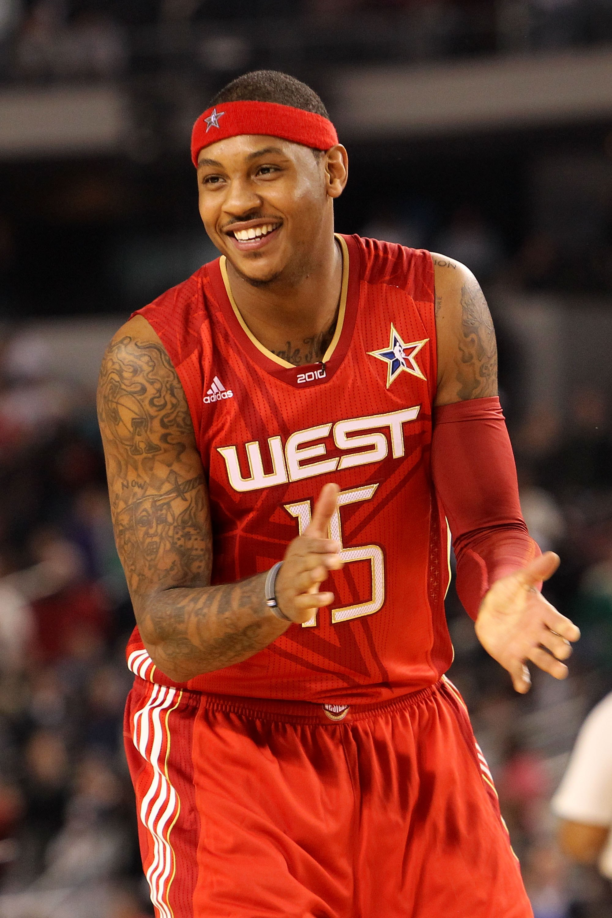 ARLINGTON, TX - FEBRUARY 14:  Carmelo Anthony #15 of the Western Conference smiles during the NBA All-Star Game, part of 2010 NBA All-Star Weekend at Cowboys Stadium on February 14, 2010 in Arlington, Texas. The Eastern Conference defeated the Western Con