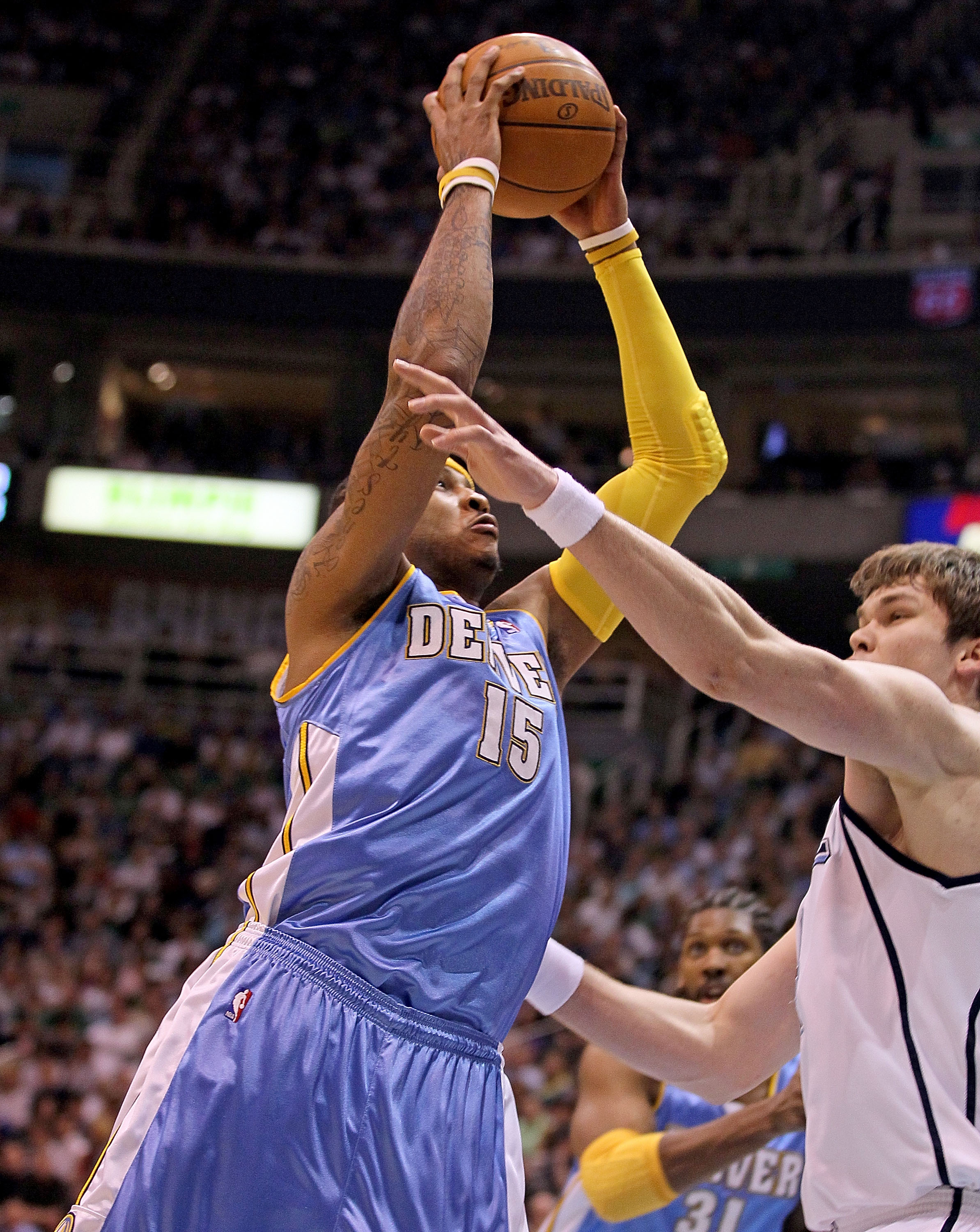SALT LAKE CITY - APRIL 25:  Carmelo Anthony #15 of the Denver Nuggets shoots the ball against the Utah Jazz during  Game Four of the Western Conference Quarterfinals of the 2010 NBA Playoffs at EnergySolutions Arena on April 25, 2010 in Salt Lake City, Ut