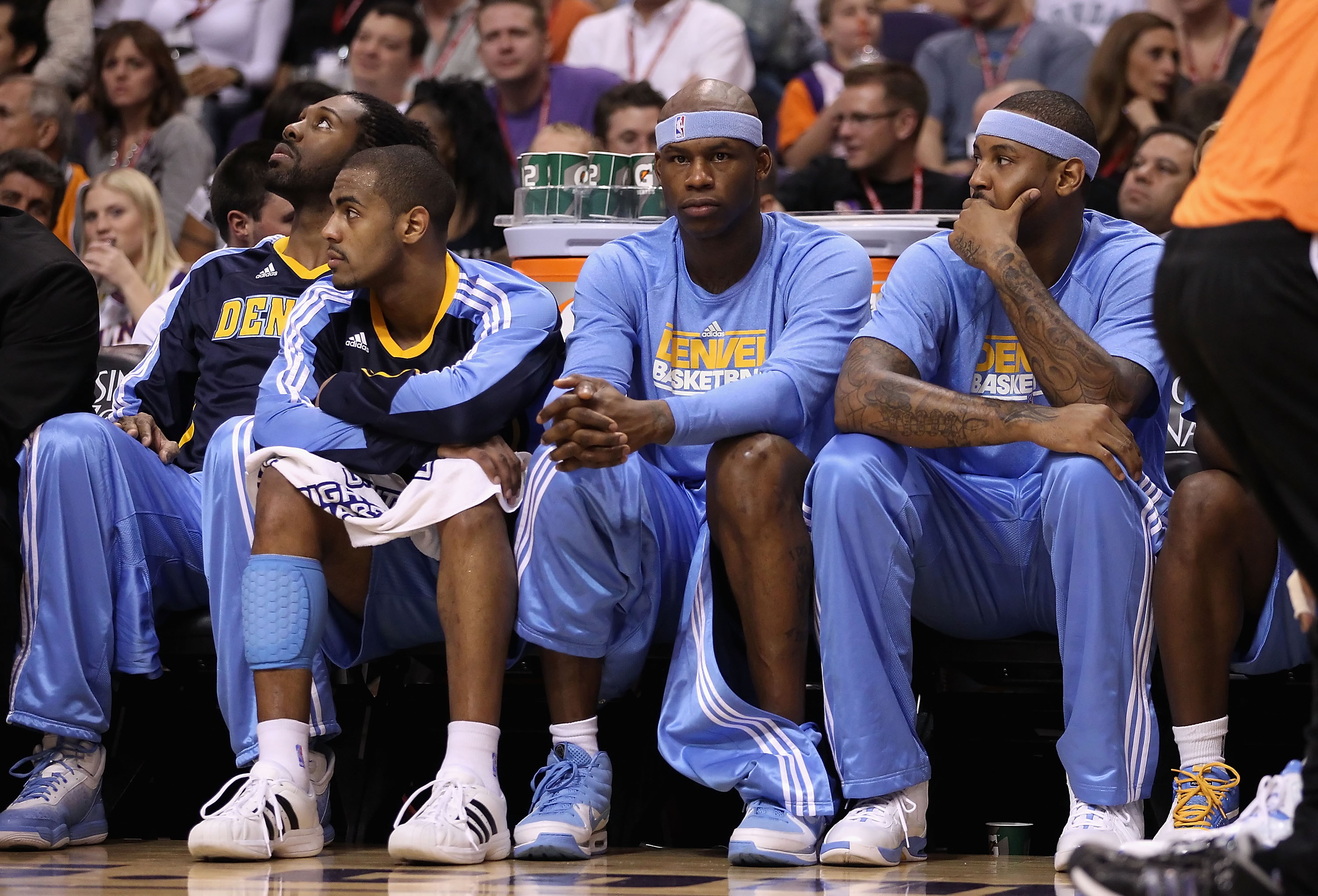PHOENIX - OCTOBER 22:  Al Harrington #6 of the Denver Nuggets watches from the bench during the preseason NBA game against the Phoenix Suns at US Airways Center on October 22, 2010 in Phoenix, Arizona. NOTE TO USER: User expressly acknowledges and agrees