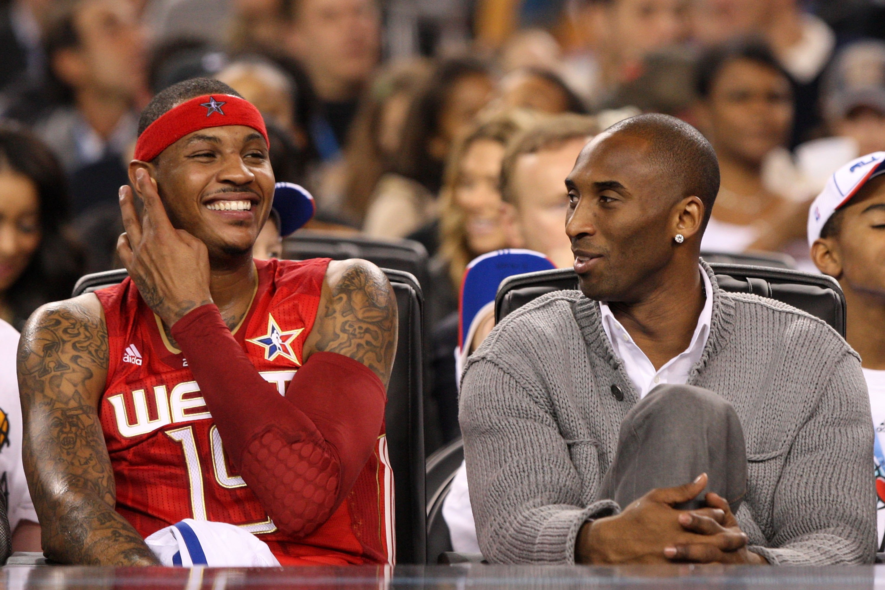 ARLINGTON, TX - FEBRUARY 14:  (L-R) Carmelo Anthony #15 and Kobe Bryant #24 of the Western Conference share a laugh during the NBA All-Star Game, part of 2010 NBA All-Star Weekend at Cowboys Stadium on February 14, 2010 in Arlington, Texas. The Eastern Co
