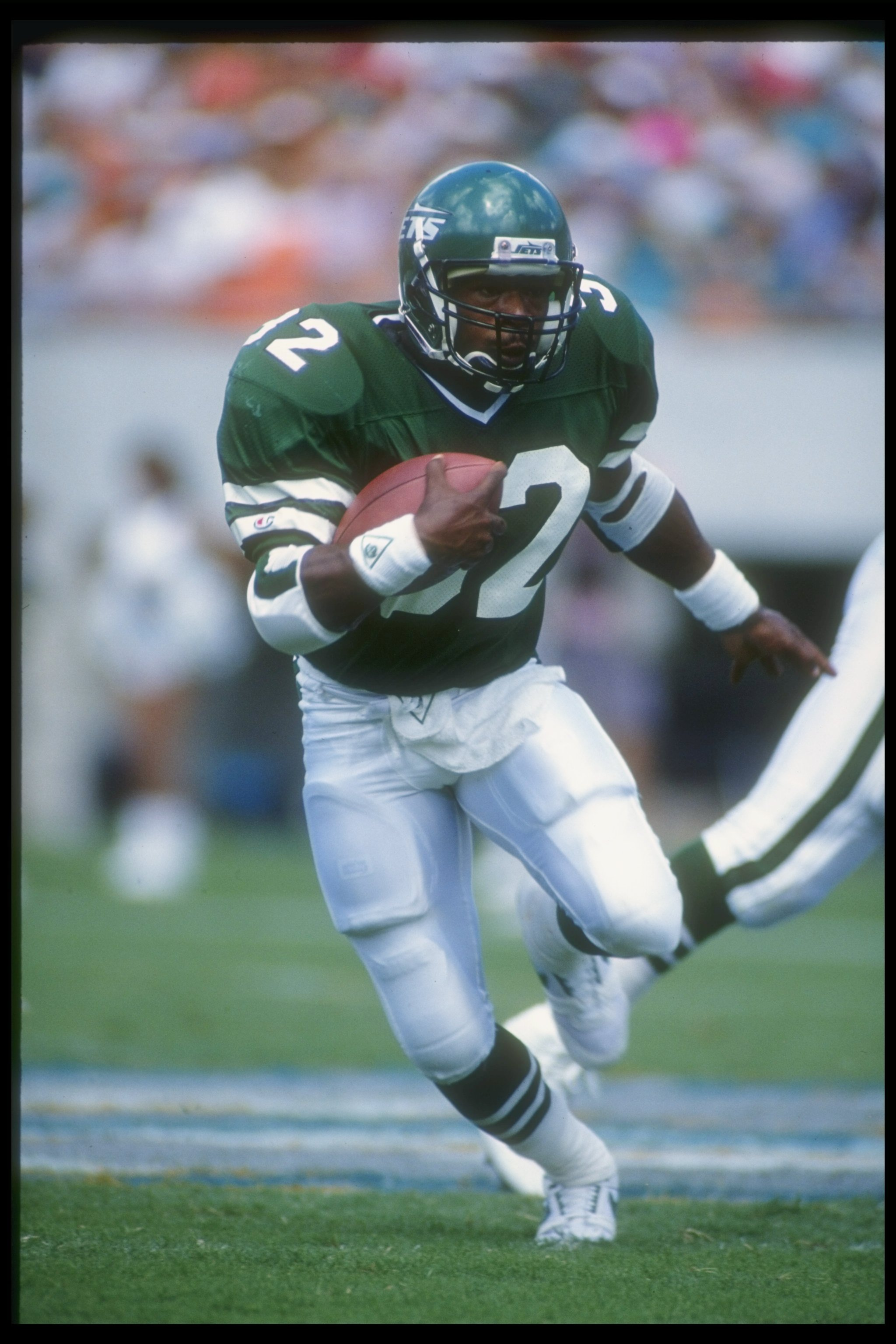 7 Oct 1990:  Running back Blair Thomas of the New York Jets moves the ball during a game against the Miami Dolphins at Joe Robbie Stadium in Miami, Florida.  The Dolphins won the game, 20-16. Mandatory Credit: Tim DeFrisco  /Allsport