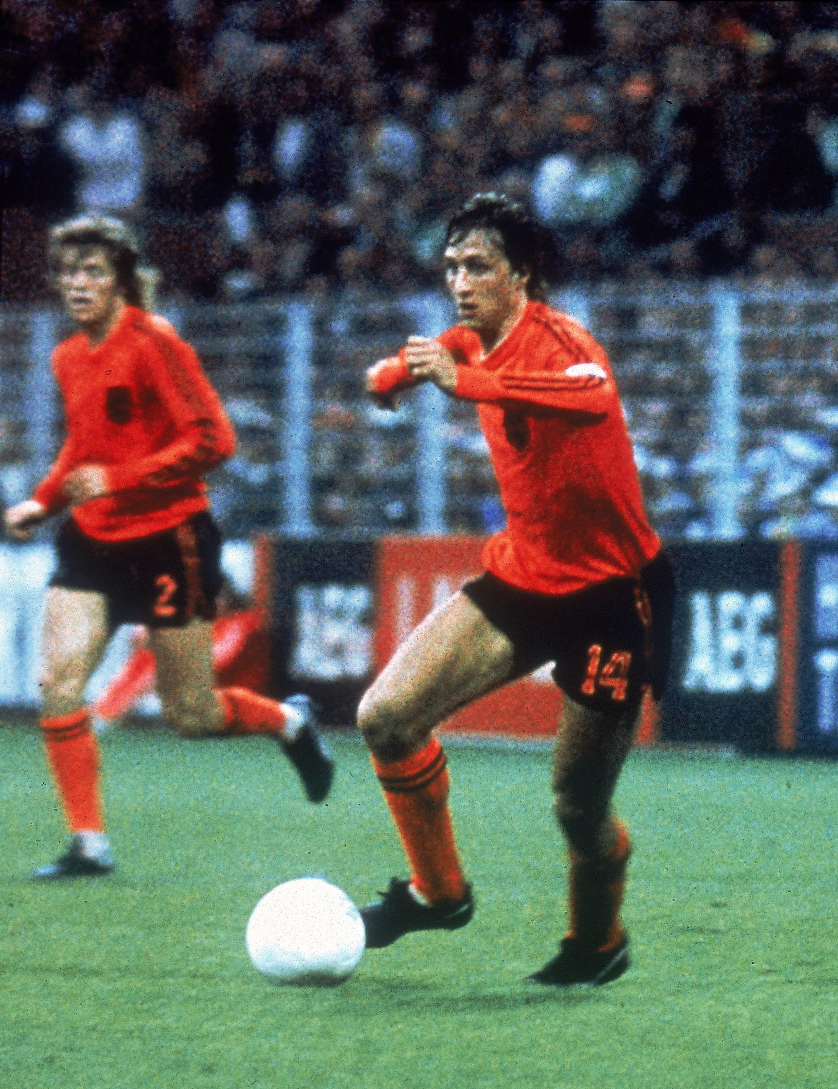 19 Jun 1974:  Johan Cruyff of Holland in action during the World Cup match against Sweden played at the Westfalenstadion in Dortmund, Germany. \ Mandatory Credit: Allsport UK /Allsport