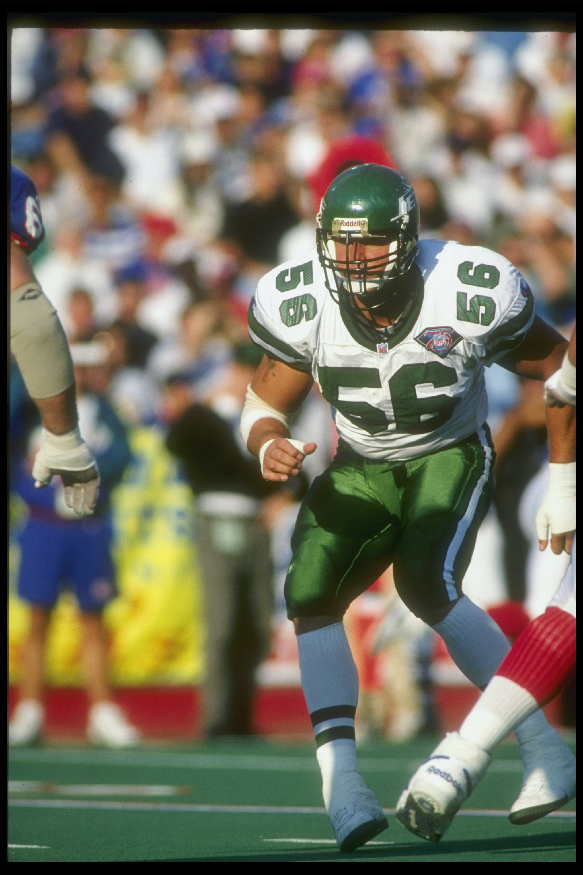 4 Sep 1994:  Linebacker Jeff Lageman of the New York Jets looks on during a game against the Buffalo Bills at Rich Stadium in Orchard Park, New York.  The Jets won the game, 23-3. Mandatory Credit: Rick Stewart  /Allsport