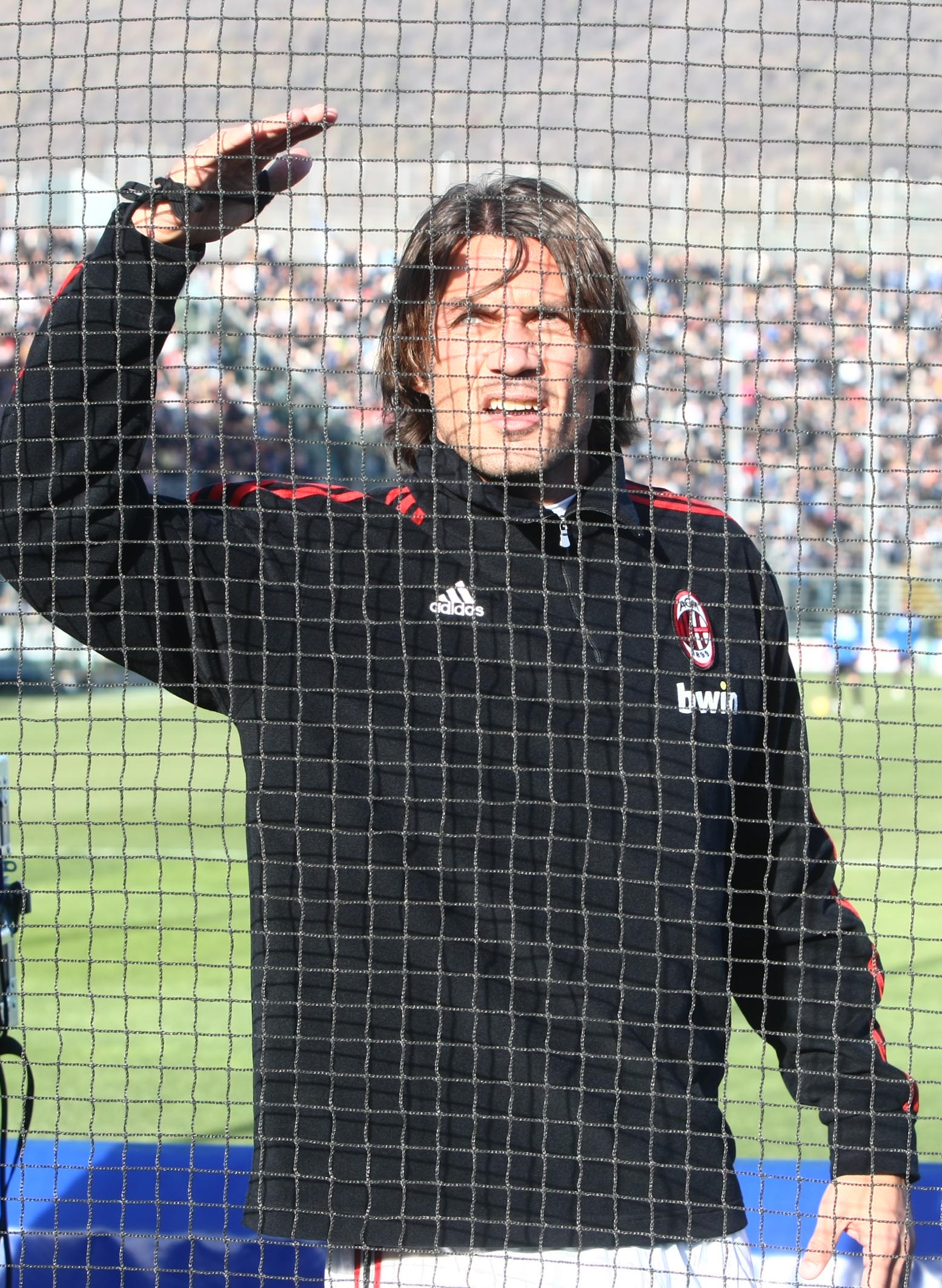 BERGAMO, ITALY - NOVEMBER 11:  Paulo Maldini of Milan looks on as fans riot at the Serie A match between Atalanta and AC Milan on November 11, 2007 in Bergamo, Italy. The match was suspended after seven minutes when Atalanta fans tried to break through a
