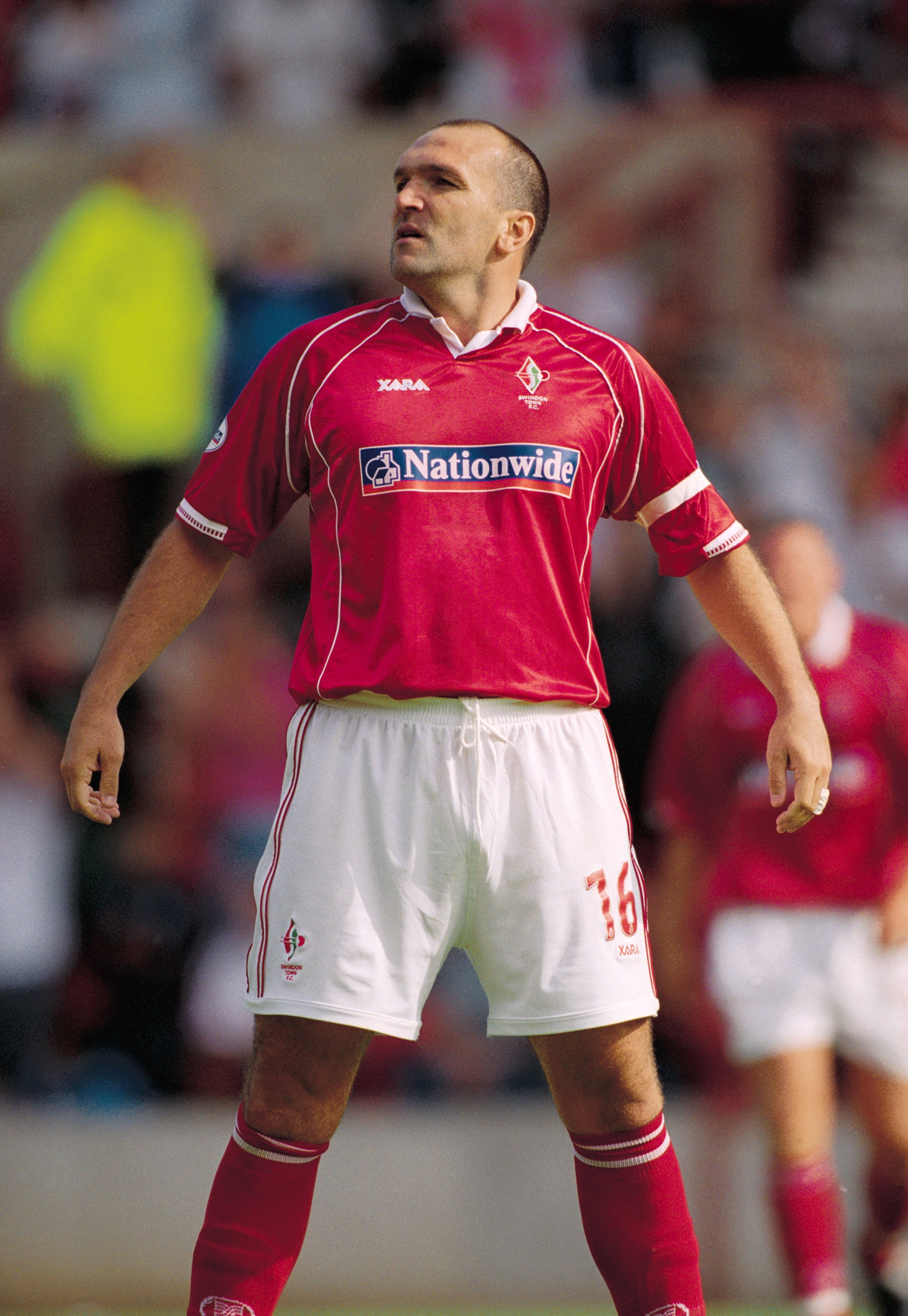 1 Sep 2001:  Neil Ruddock of Swindon Town in action during the Nationwide League Division Two match against Colchester United played at the County Ground, in Swindon, England. Swindon Town won the match 1-0. \ Mandatory Credit: Steve Bardens /Allsport