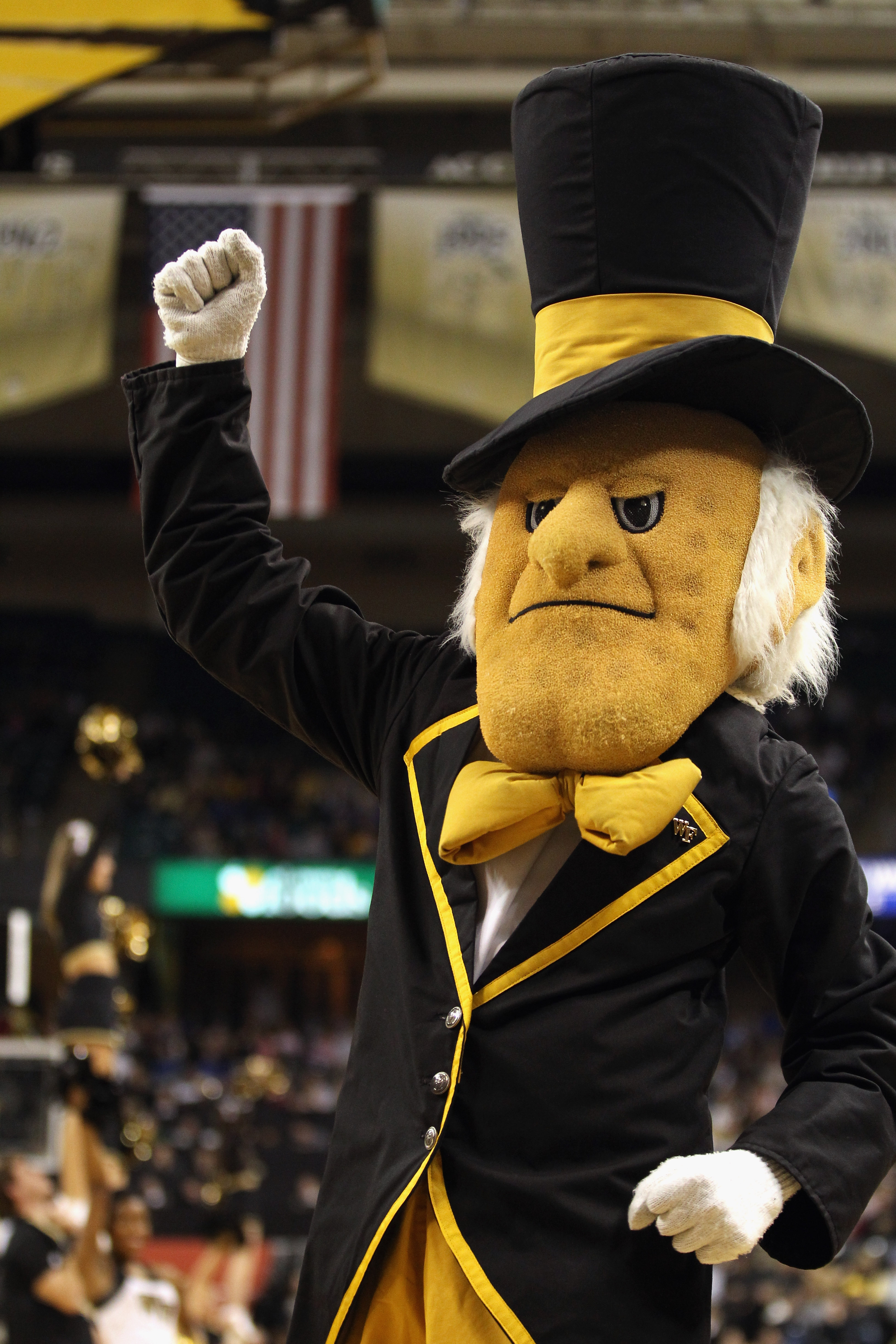 WINSTON SALEM, NC - JANUARY 22:  A general view of the mascot of the Wake Forest Demon Deacons during their game against the Duke Blue Devils at Lawrence Joel Coliseum on January 22, 2011 in Winston Salem, North Carolina.  (Photo by Streeter Lecka/Getty I